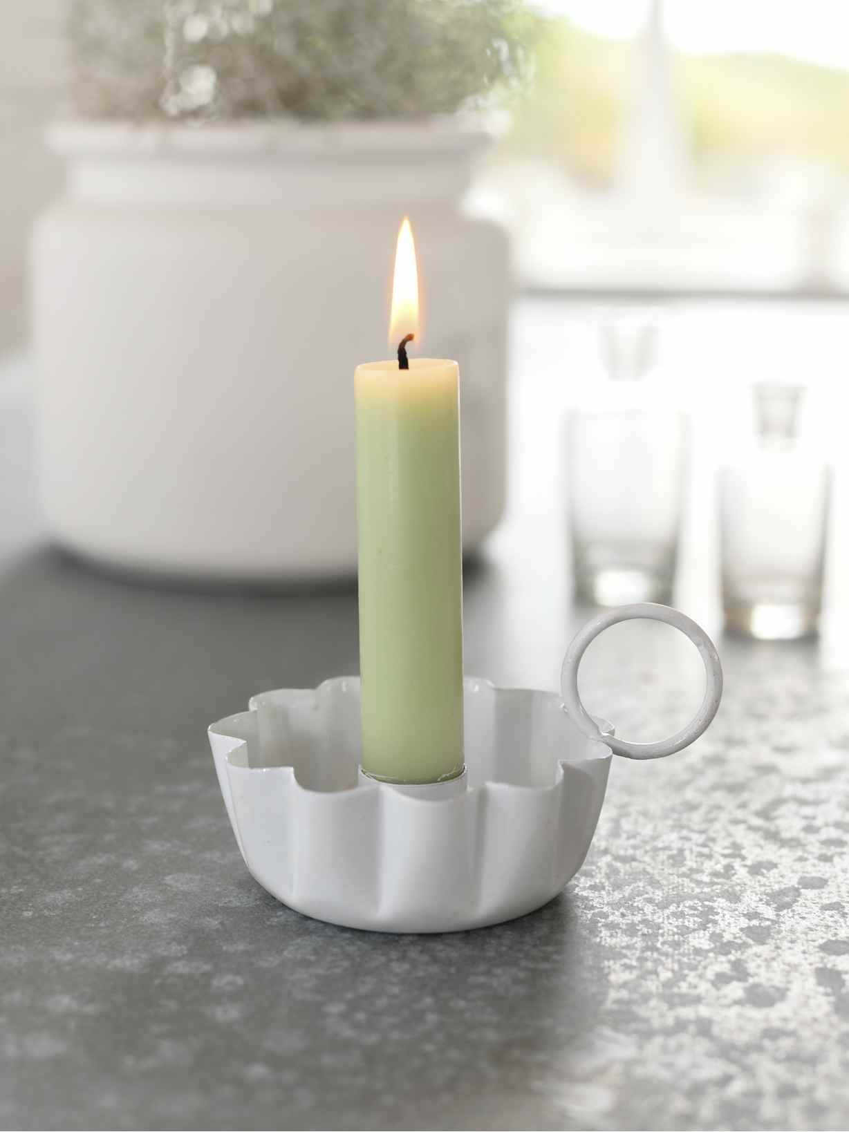 Nordic House White Retro Candle Holder
