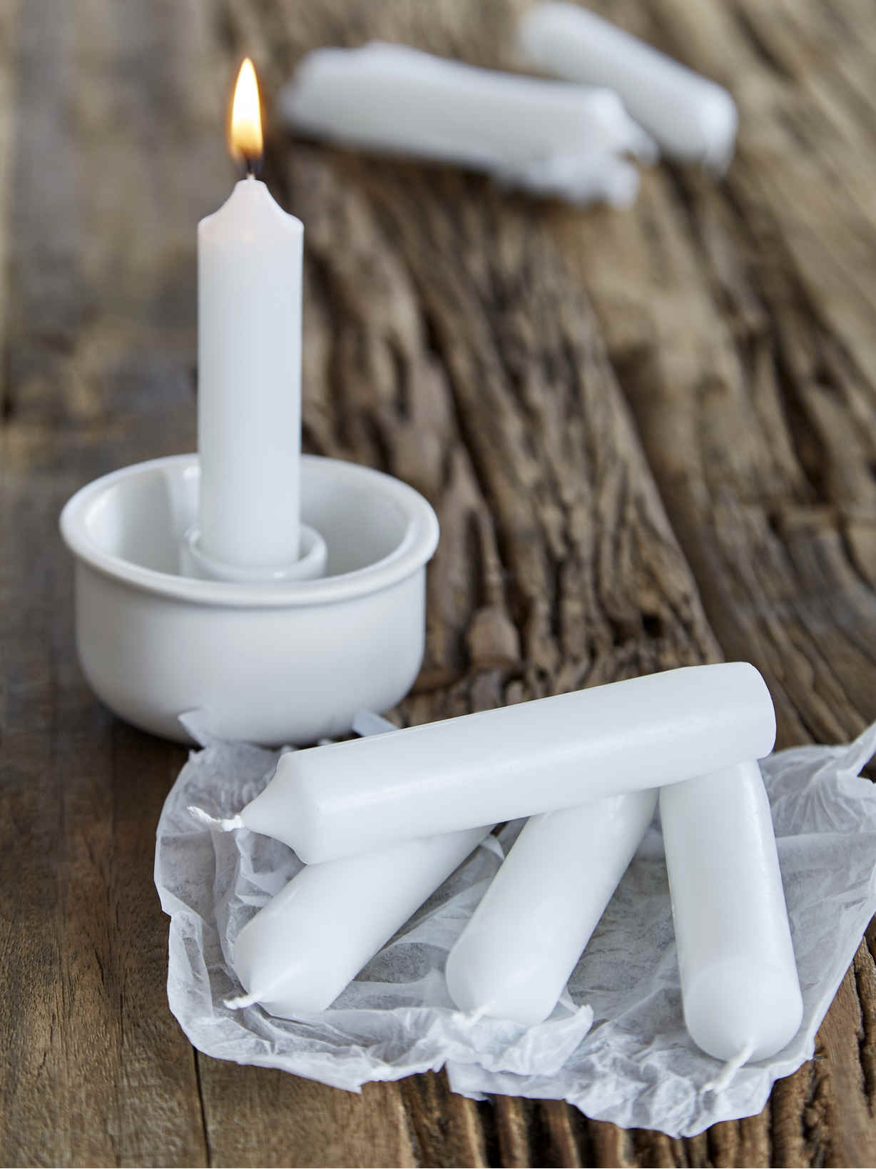 Nordic House Bistro Candle Set - White