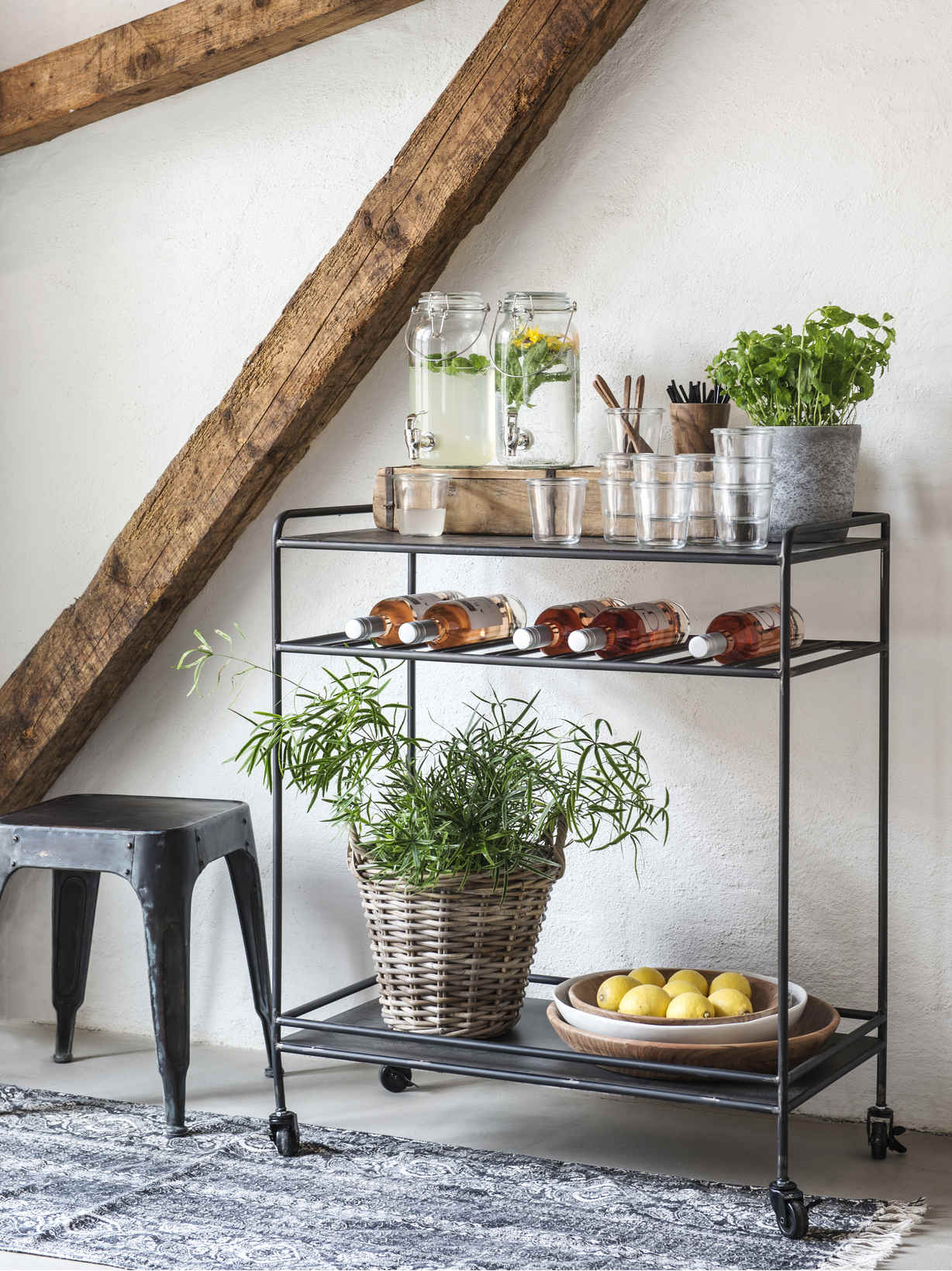 Nordic House Industrial Bar Trolley