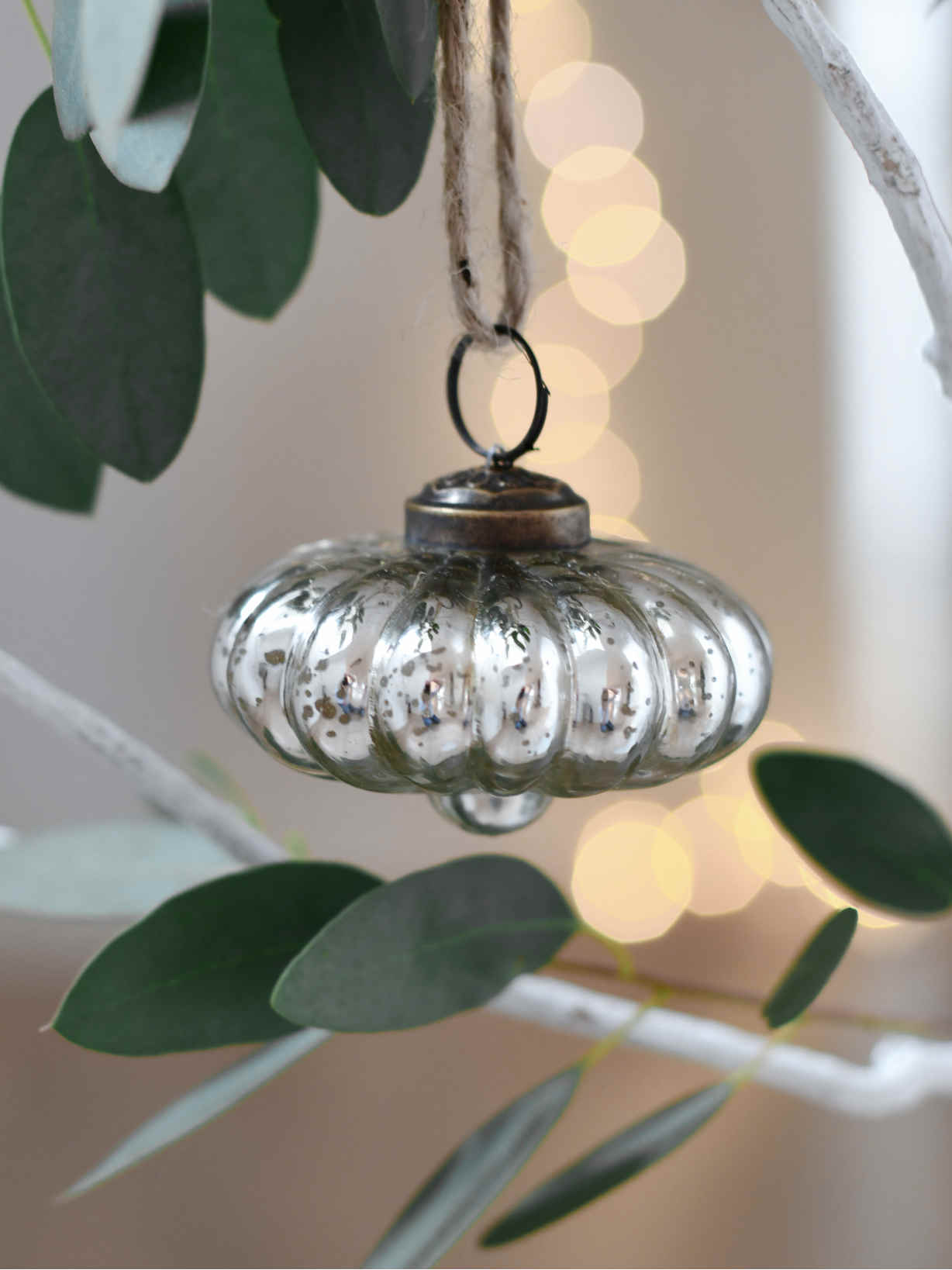 Nordic House Shaped Silver Bauble