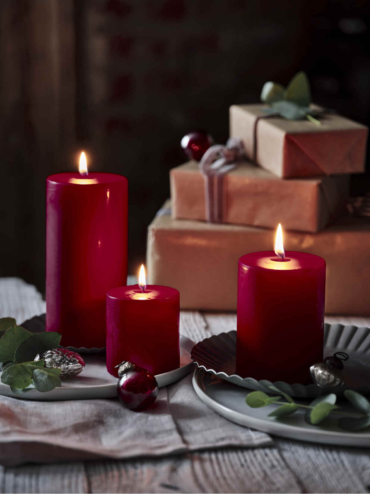 Nordic House Red Pillar Candles