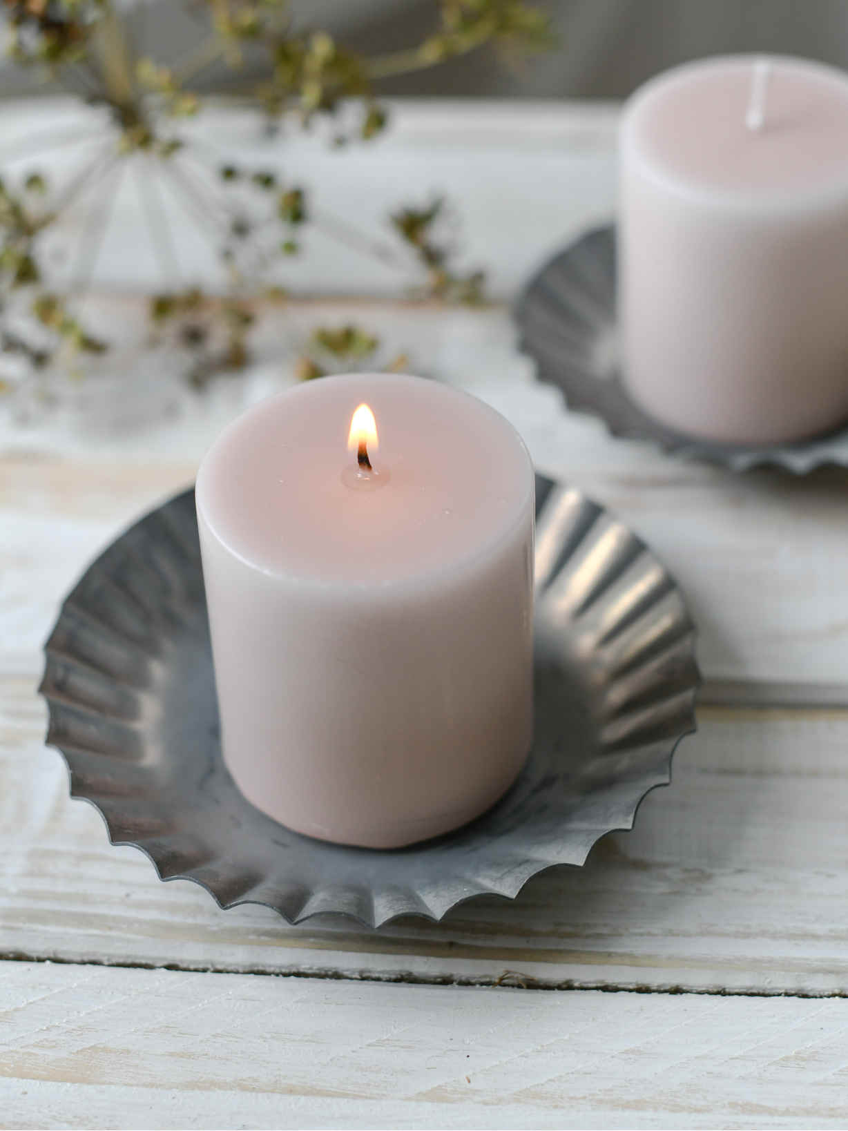 Nordic House Blush Pink Pillar Candle