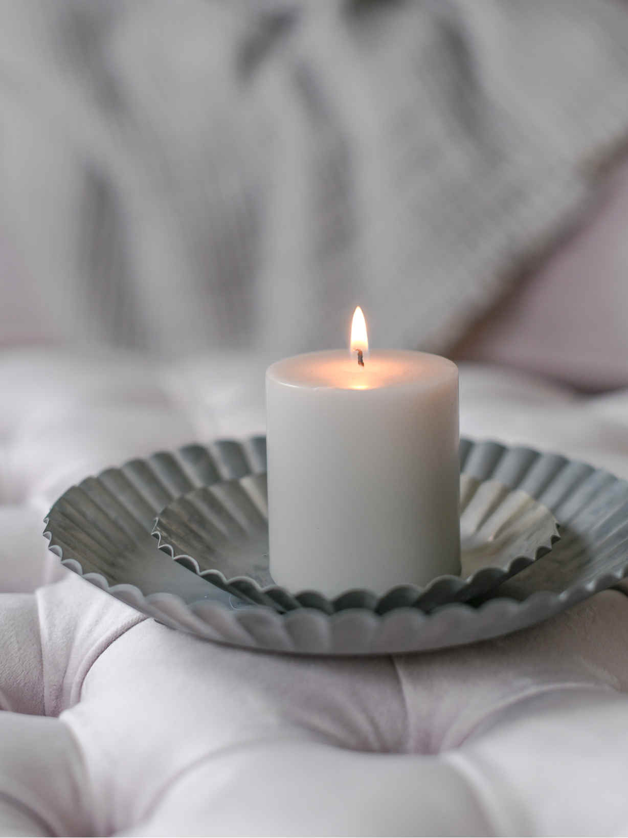 Nordic House Pale Grey Pillar Candle