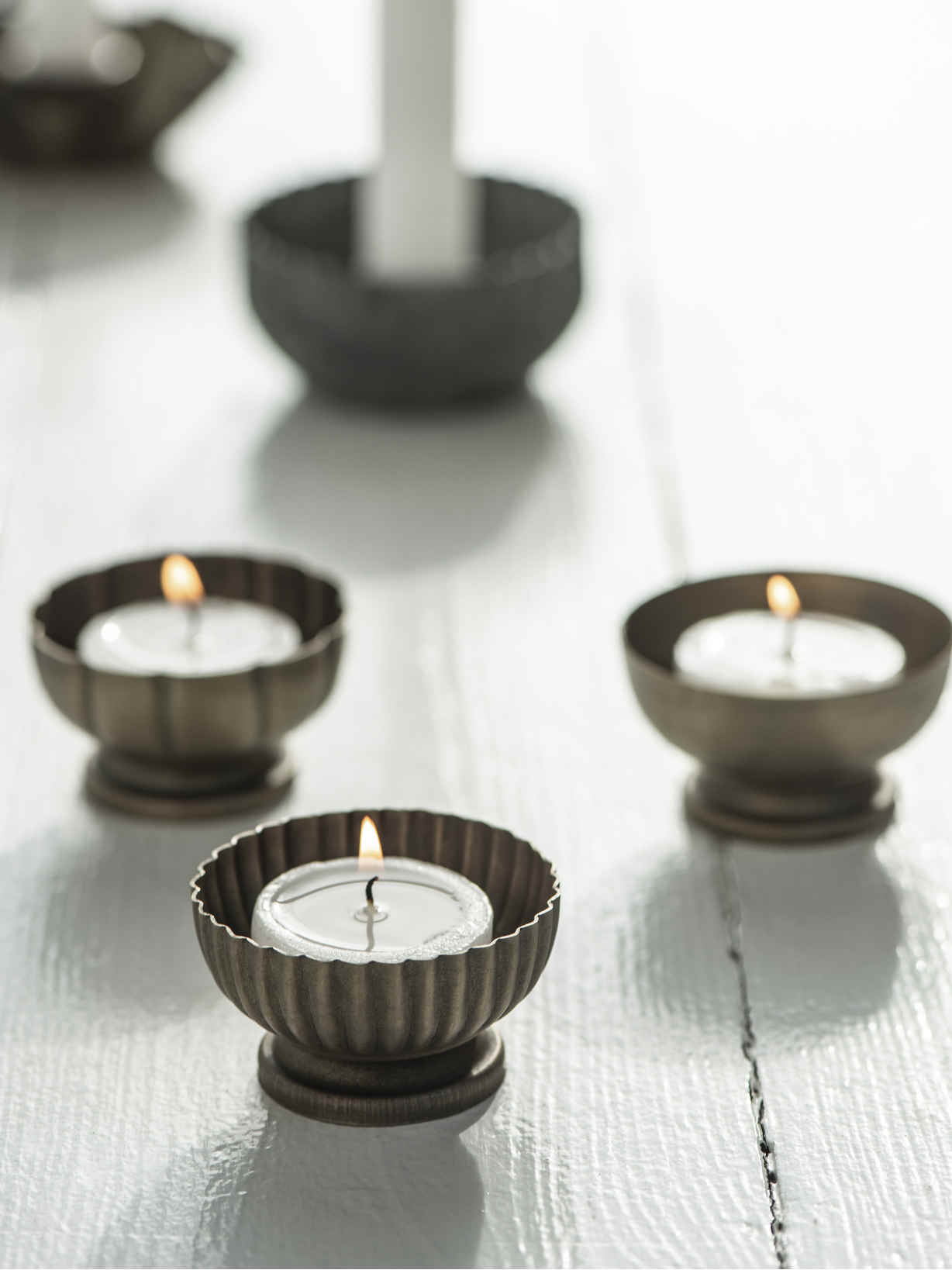 Nordic House Vintage Brass Tealight Set