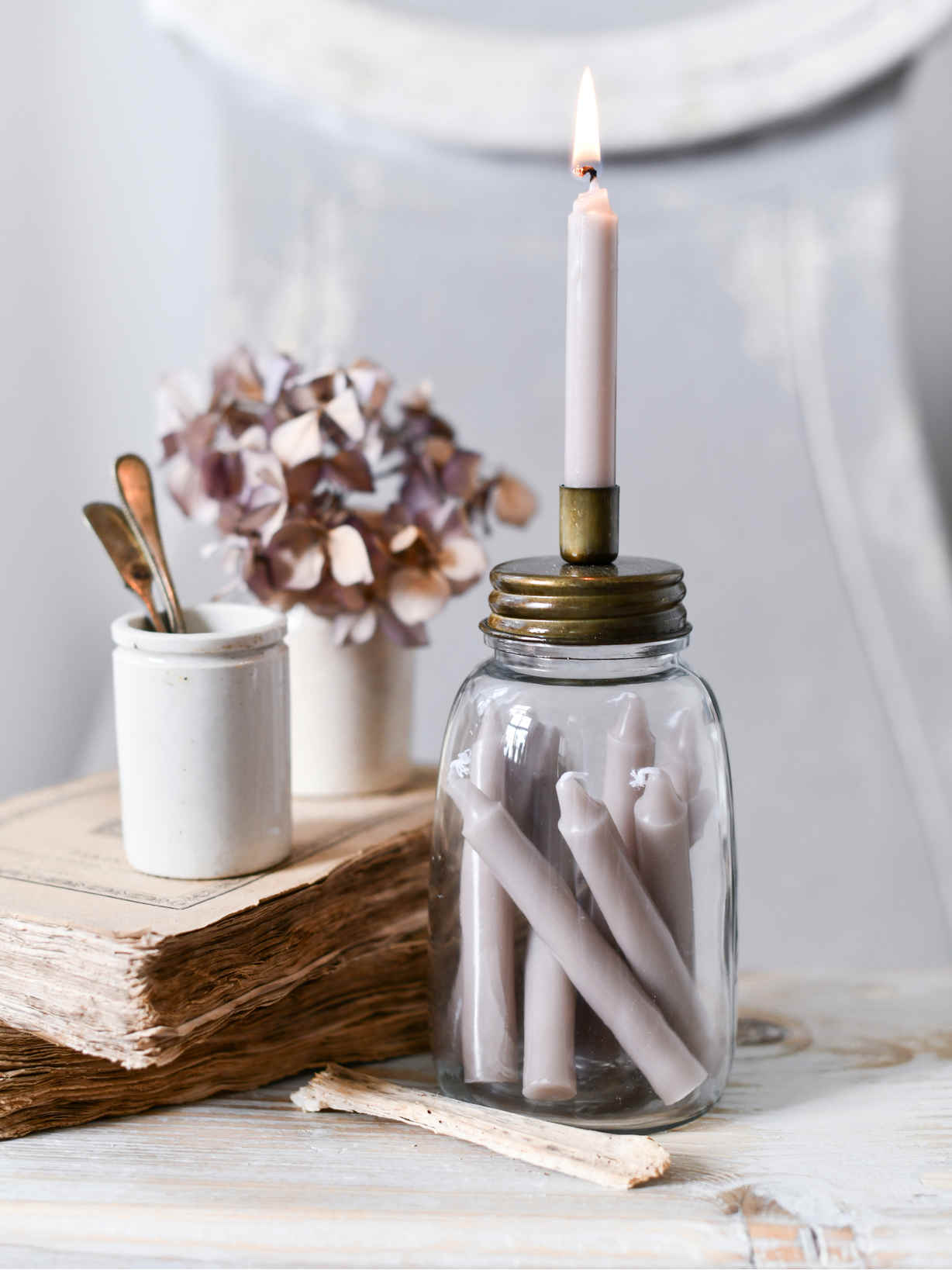 Nordic House Retro Jar Candle Holder - Brass