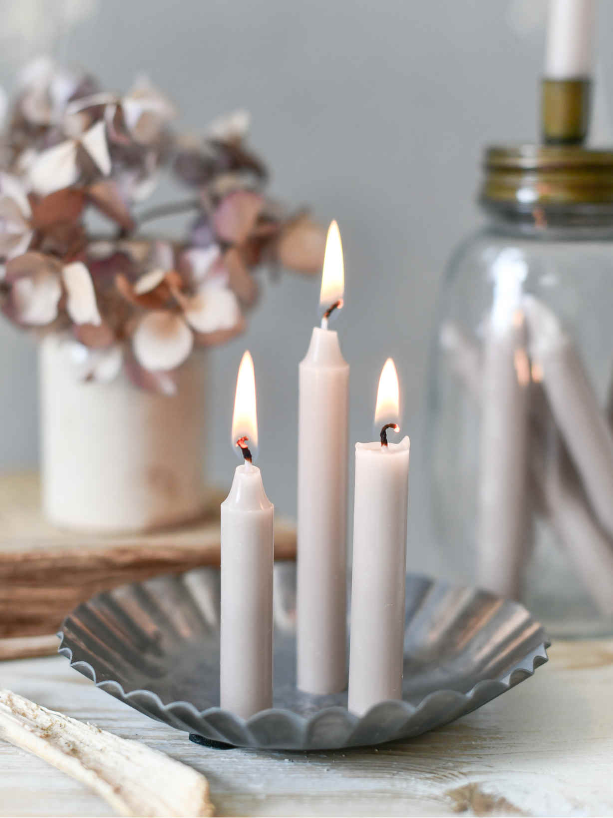 Nordic House Pale Linen Mini Candle Set