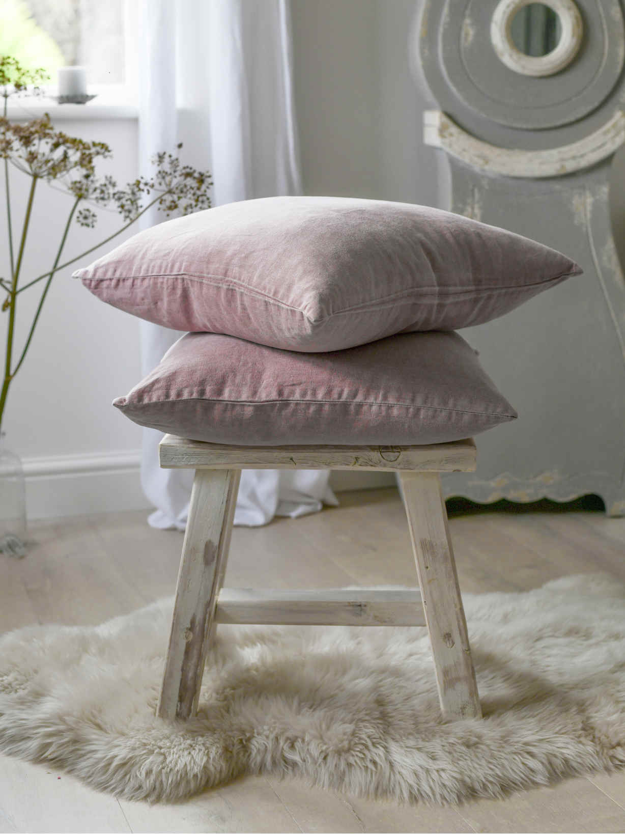 Nordic House Dusty Pink Linen Cushion