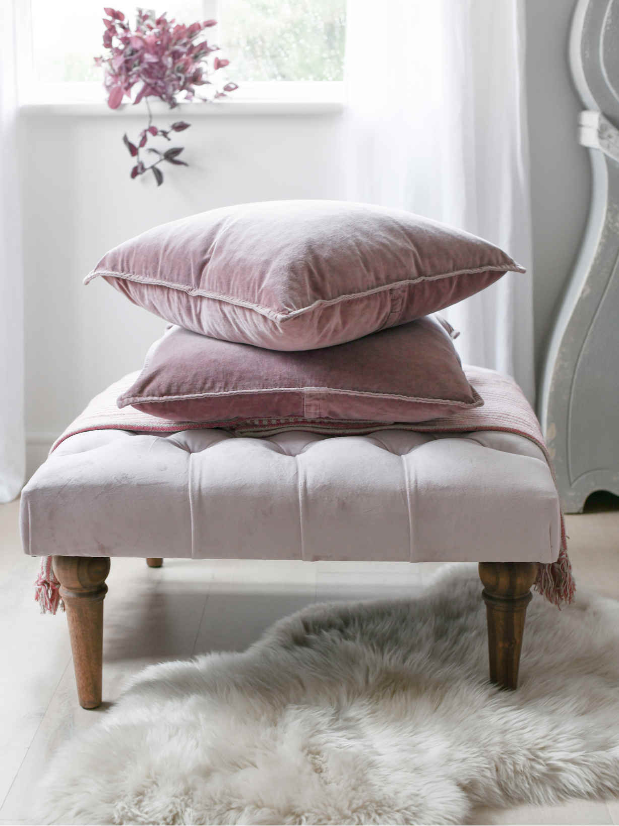 Nordic House Dusty Pink Velvet Cushion