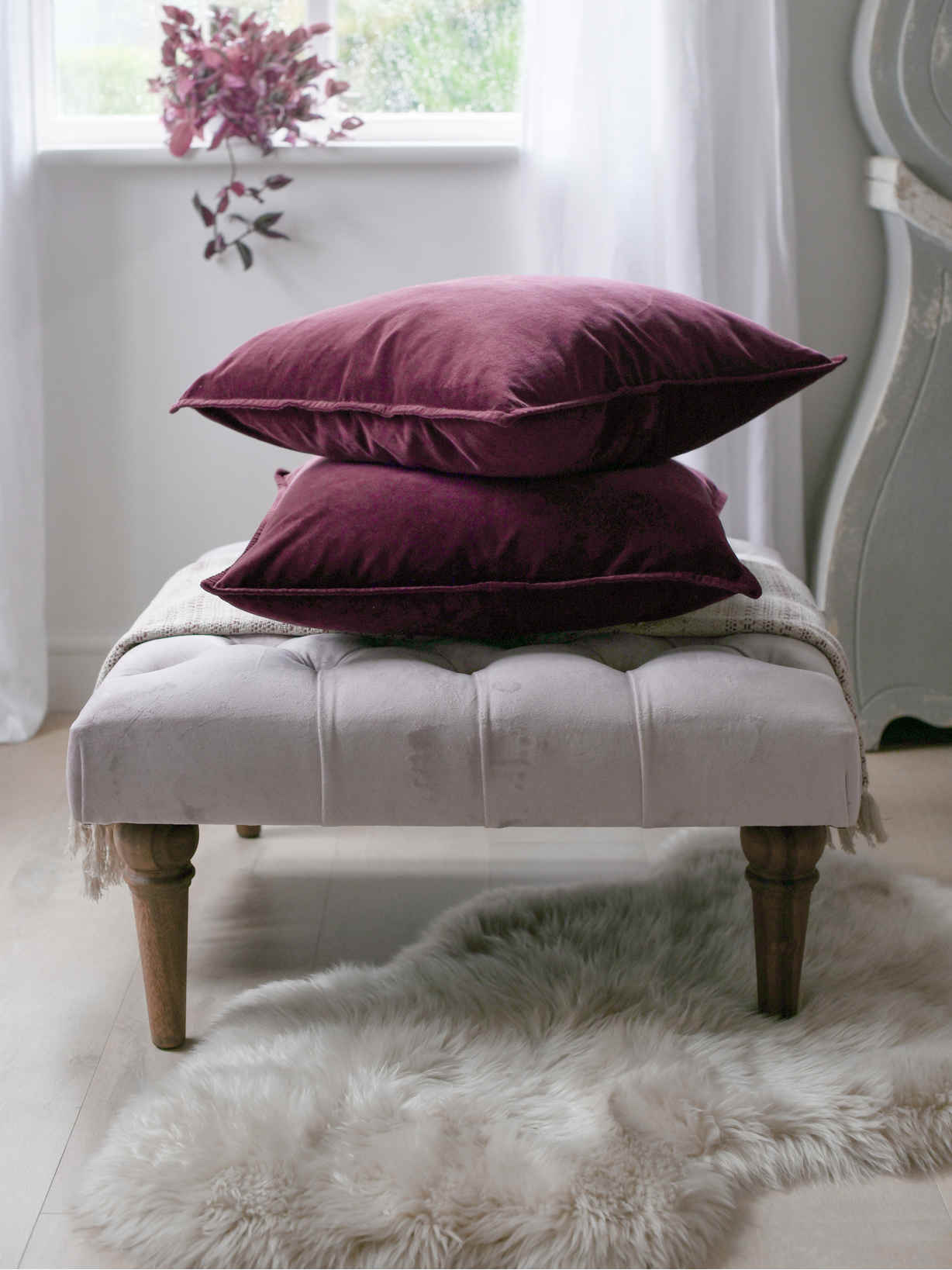 Nordic House Deep Plum Velvet Cushion