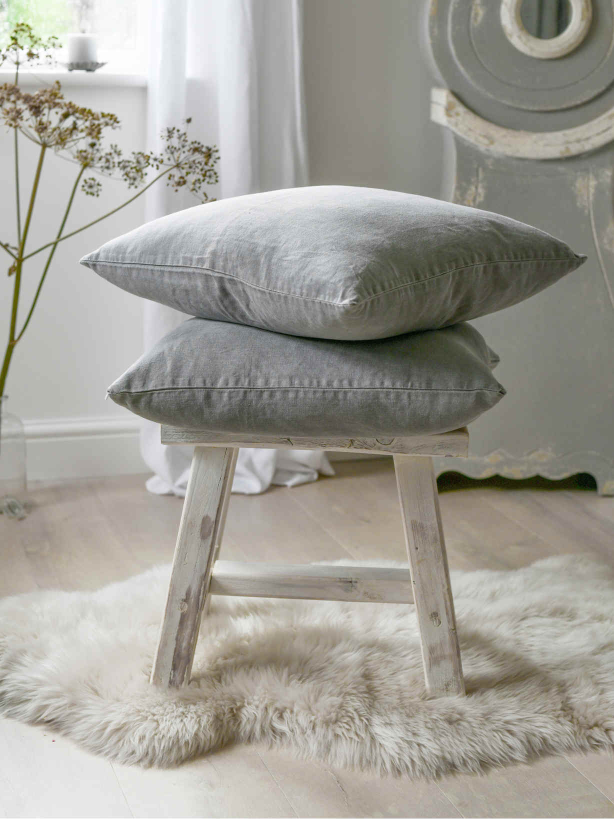 Nordic House Grey Linen Cushion