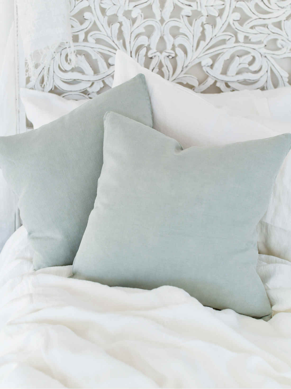 Nordic House Light Sage Linen Cushion