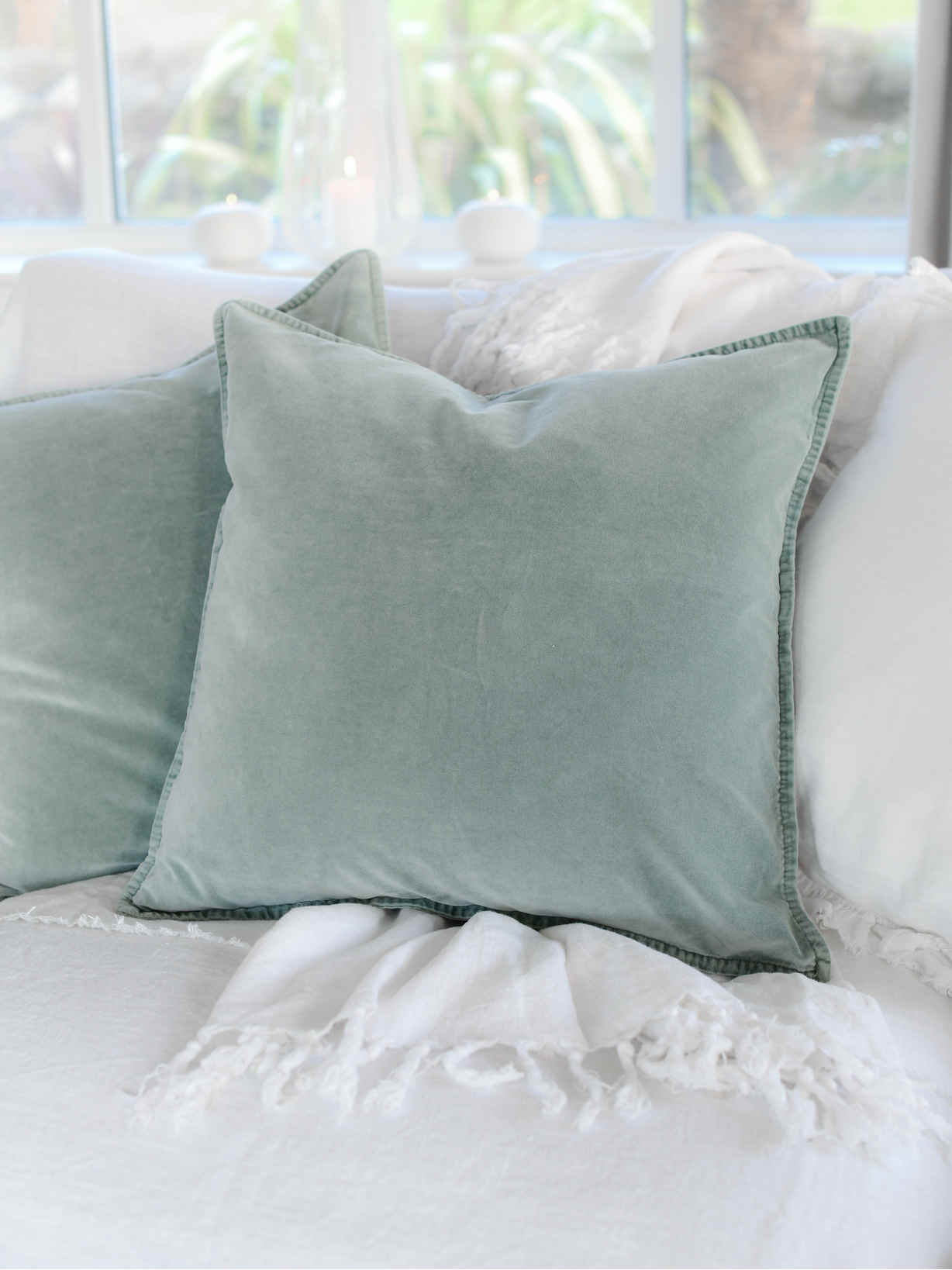 Nordic House Sage Velvet Cushion