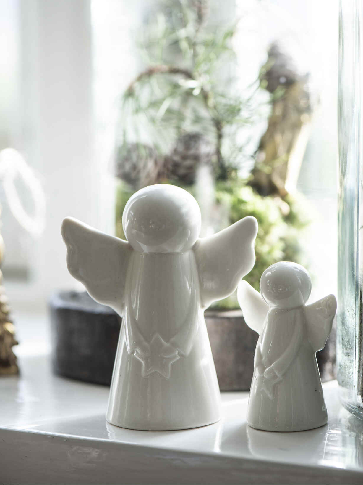 Nordic House White Ceramic Angel Set
