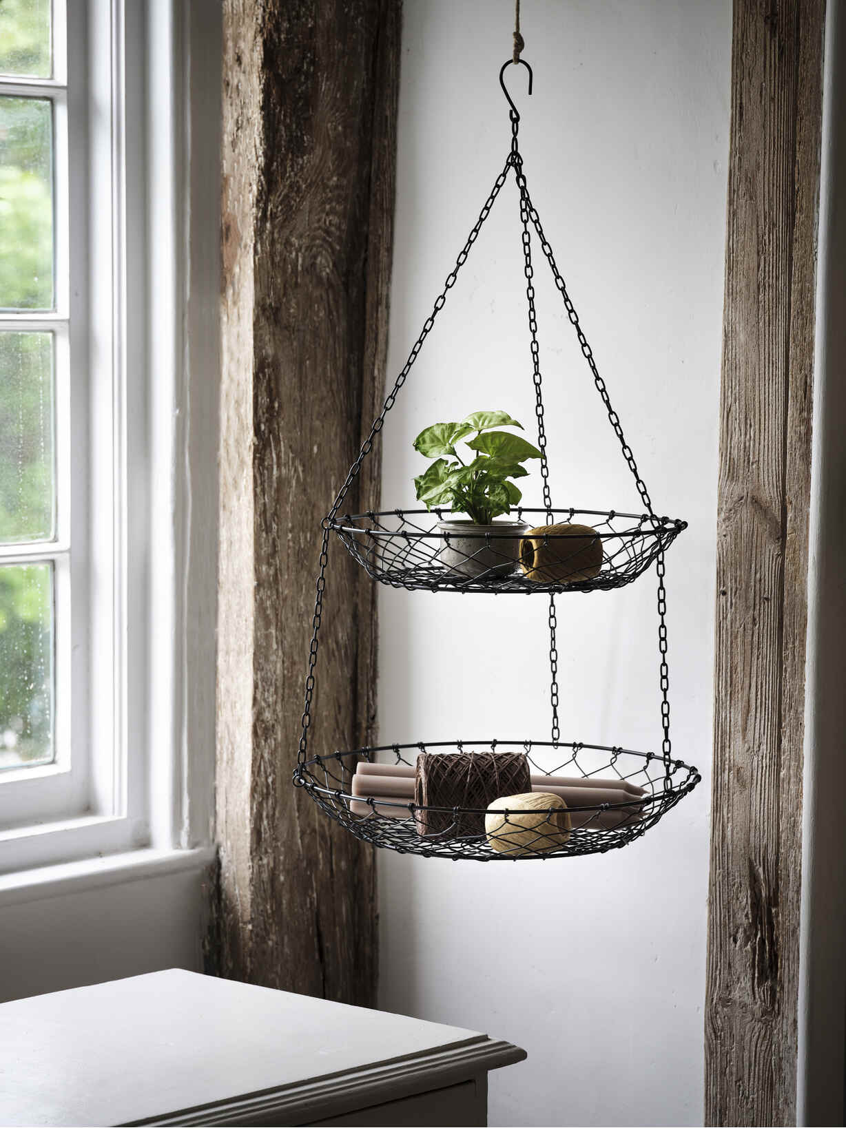 Nordic House Two-Tiered Hanging Basket