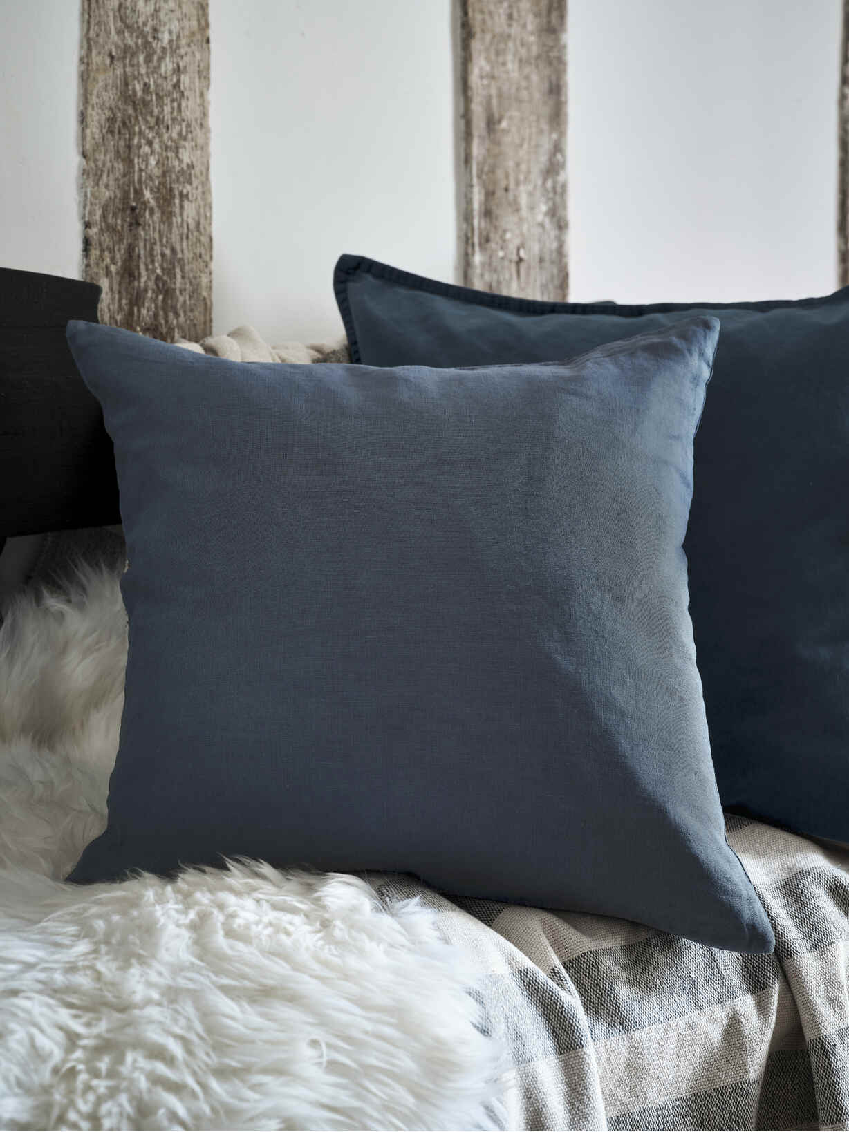 Nordic House Stonewash Blue Linen Cushion