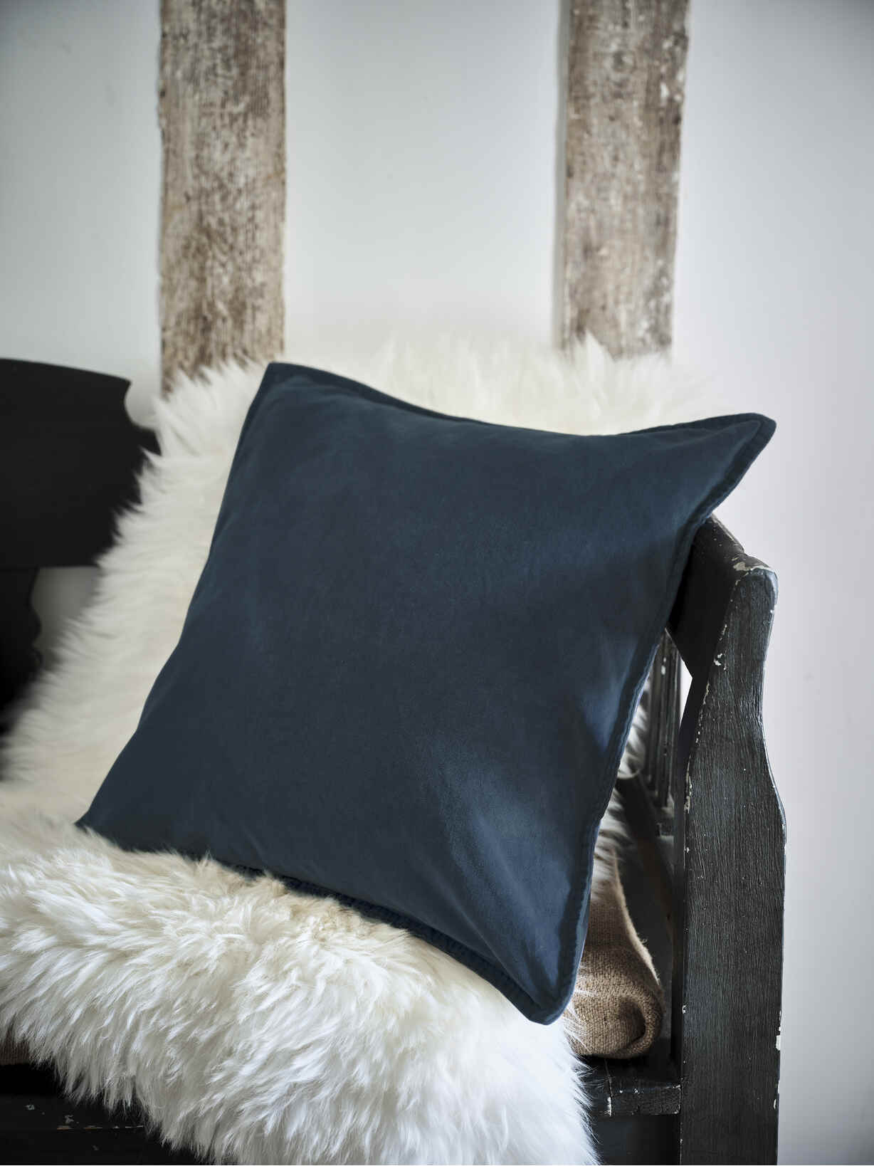 Nordic House Heritage Blue Velvet Cushion