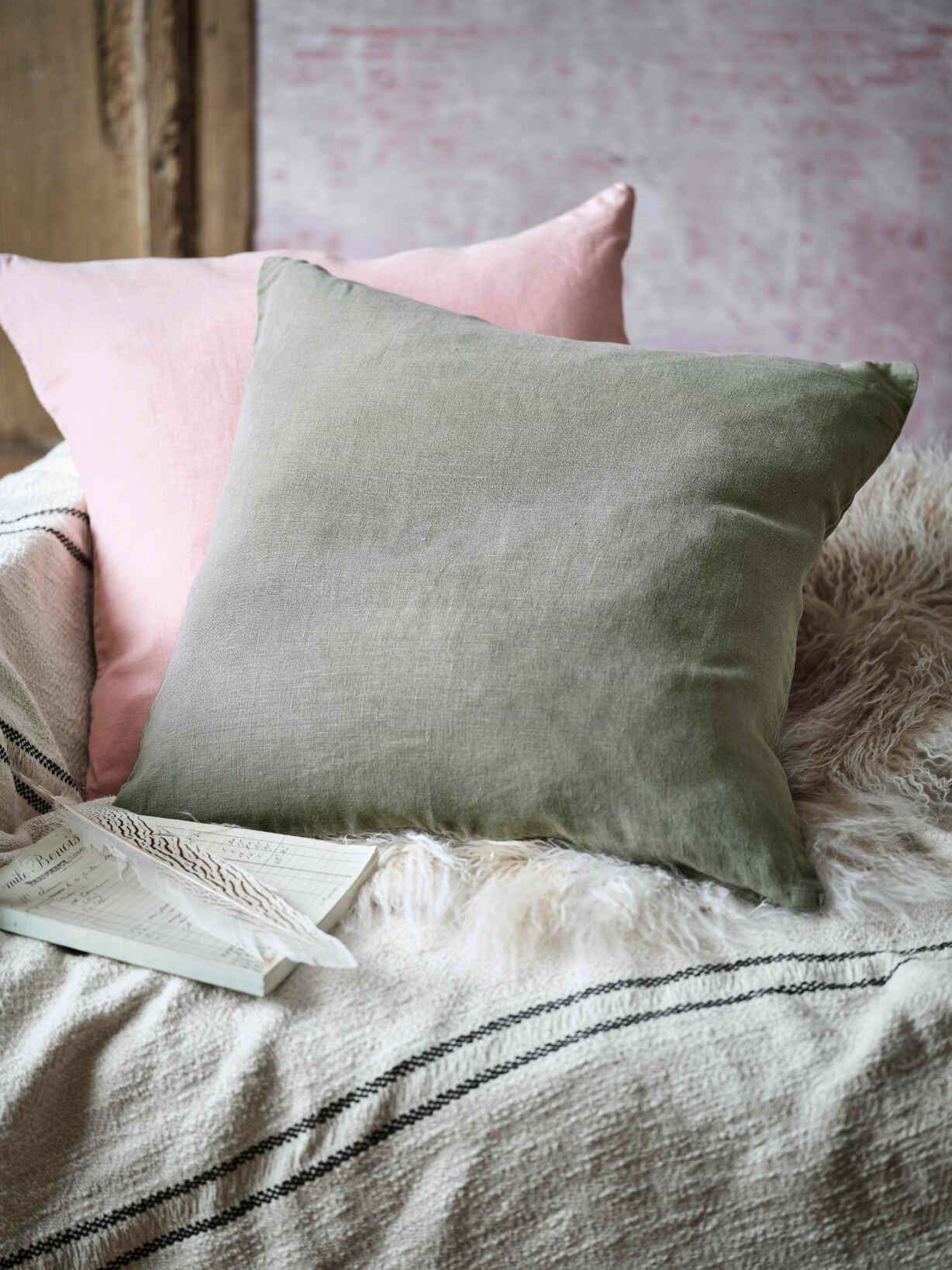 Nordic House Olive Green Linen Cushion