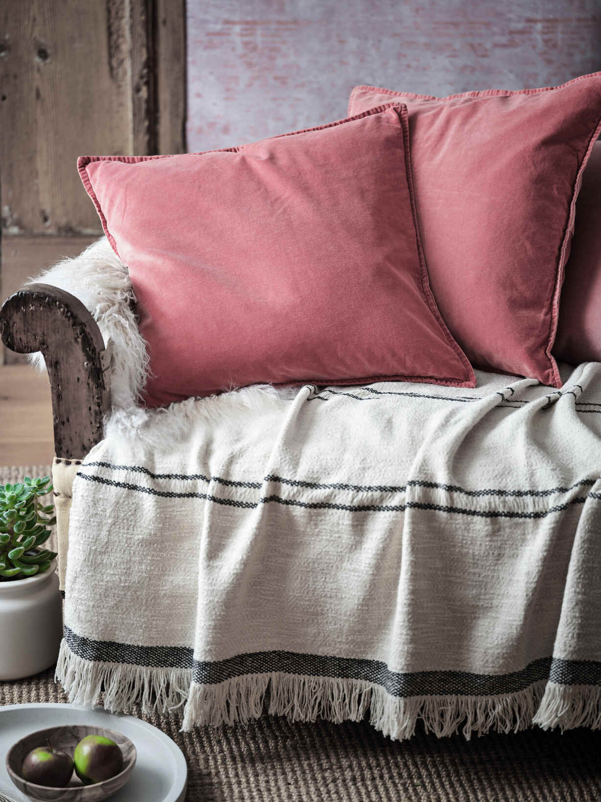 Nordic House Faded Rose Velvet Cushion