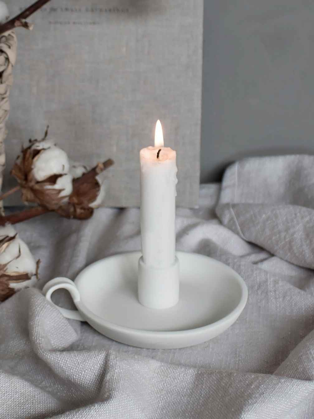 Nordic House Elise Candle Holder - White