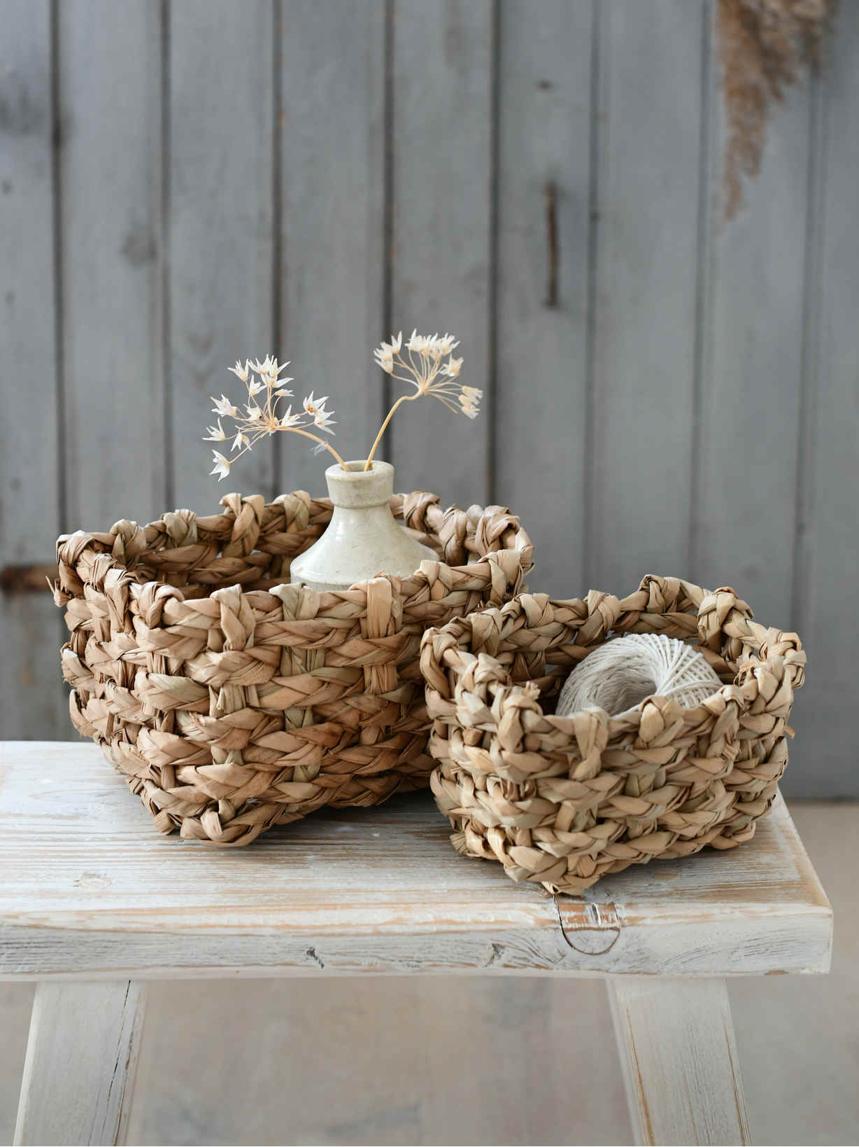 Nordic House Rustic Straw Basket Set