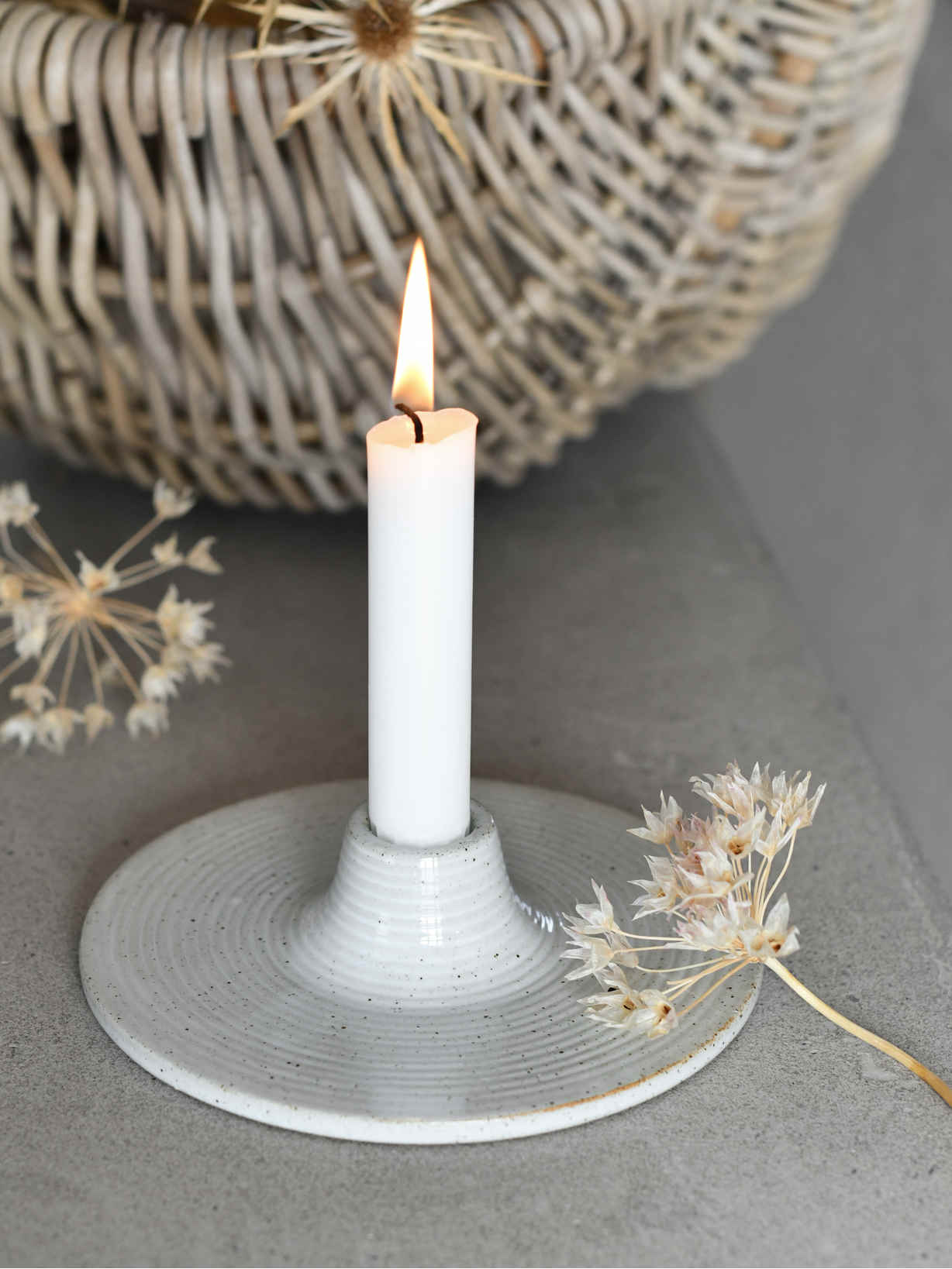 Nordic House Stoneware Candle Holder