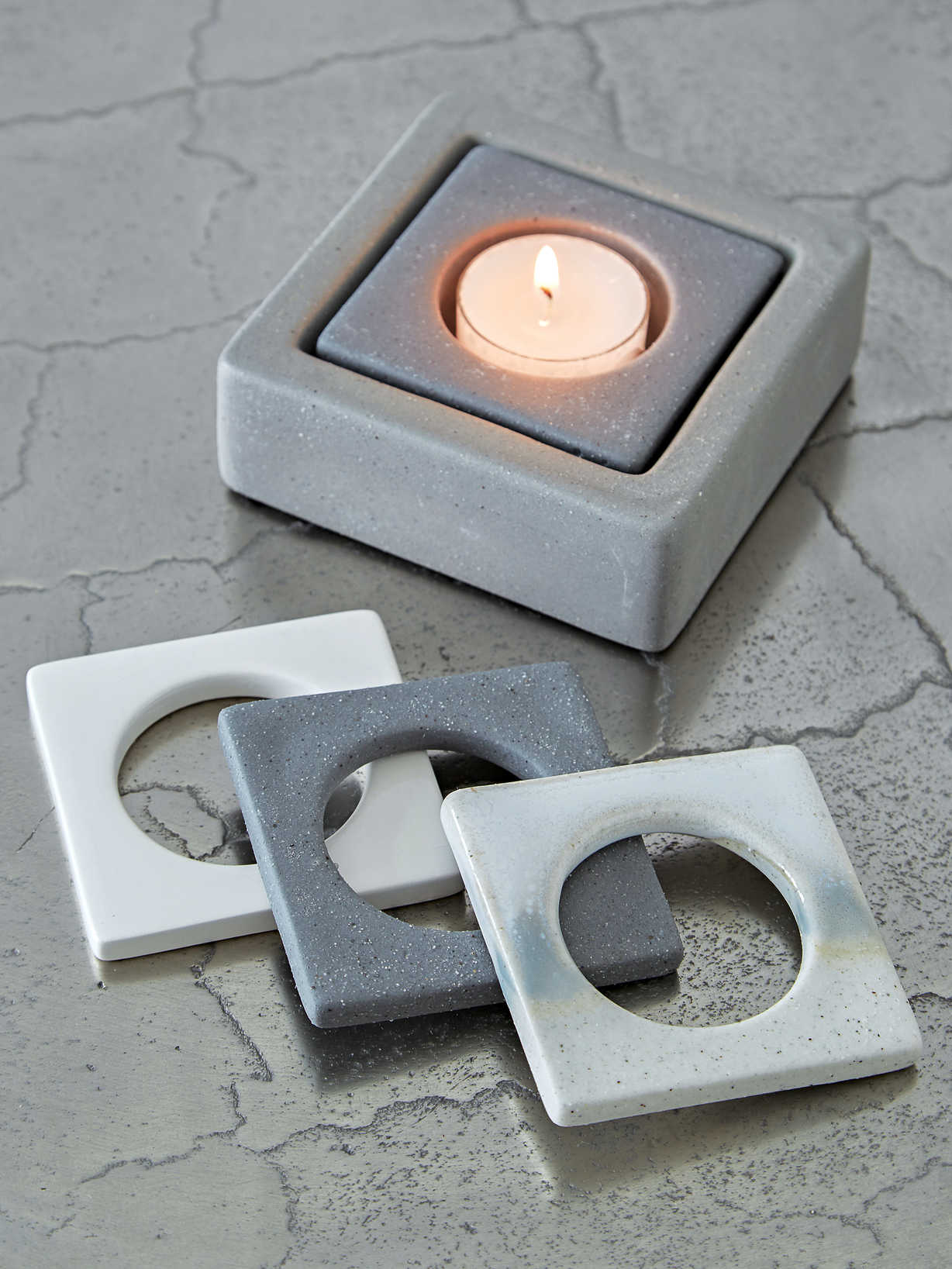 Nordic House Square Ceramic Tealight Holder - Grey