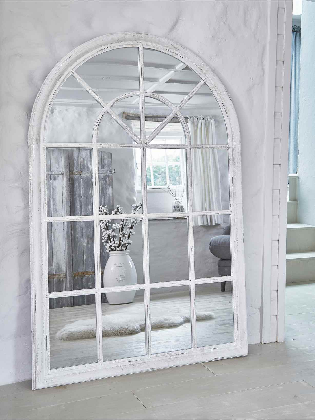 Nordic House Arched Loft-Style Window Mirror