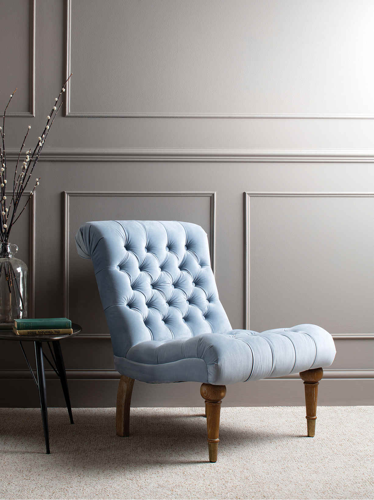 Nordic House Velvet Chesterfield Chair