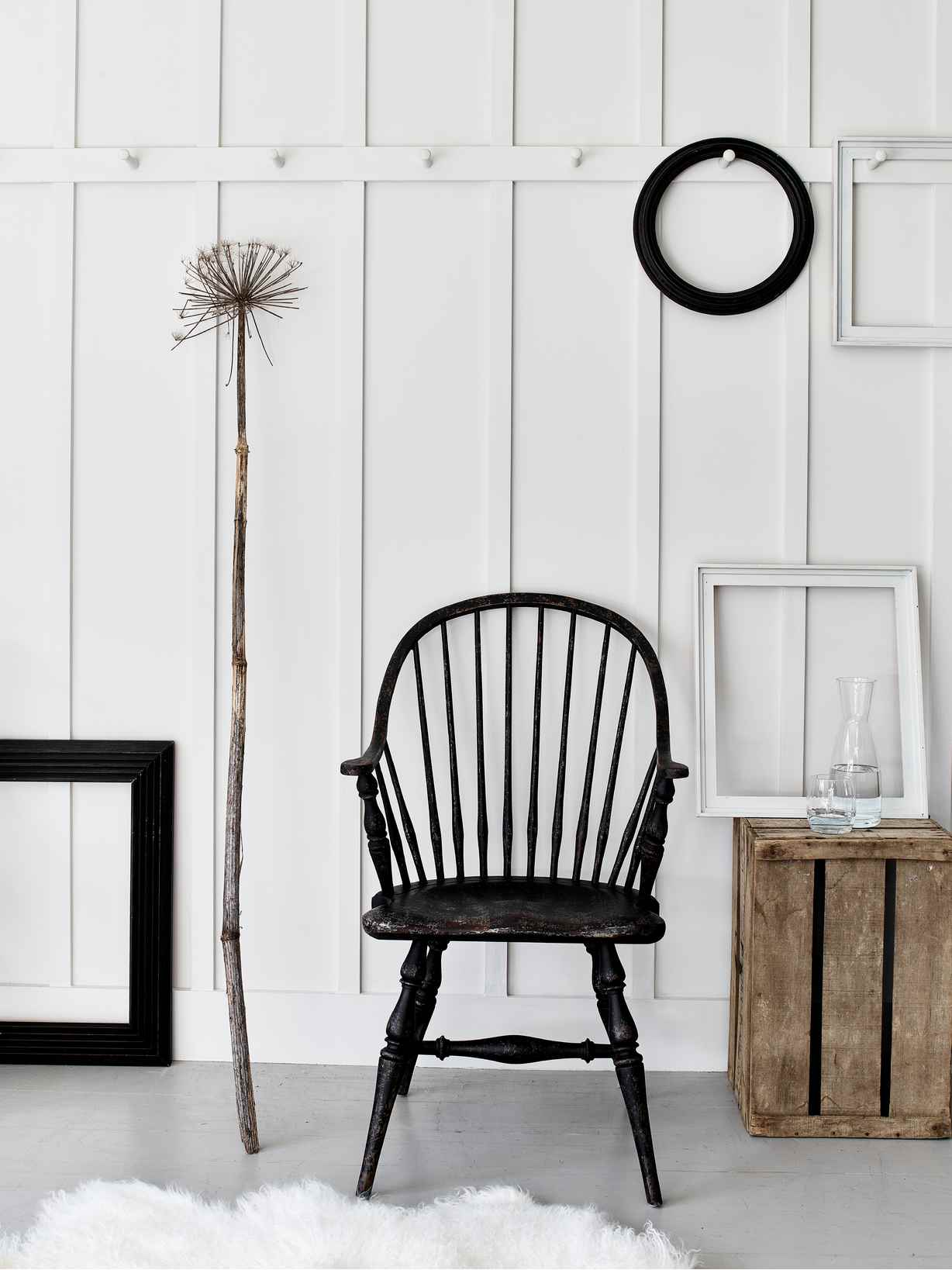 Nordic House Distressed Black Captain's Chair