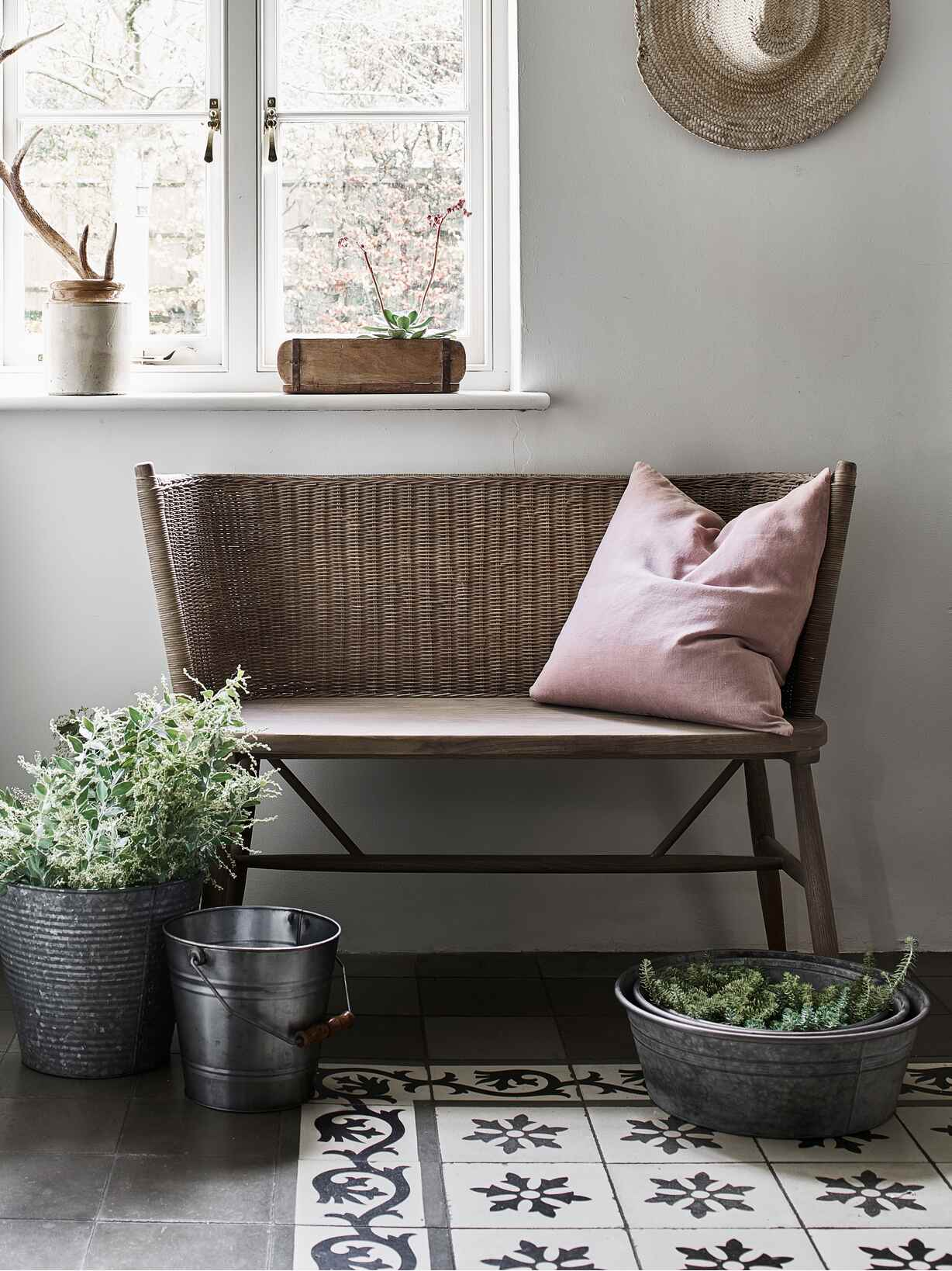 Nordic House Curved Rattan Bench