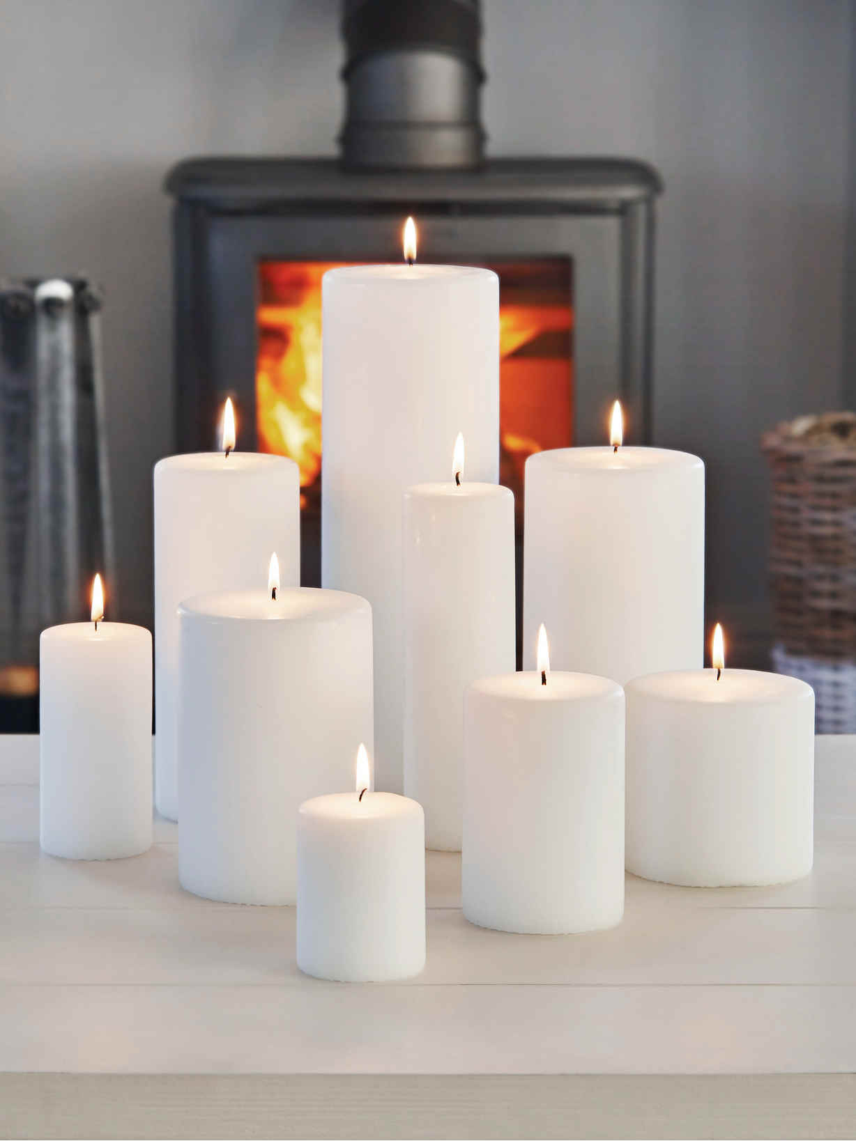 Nordic House Stylish White Pillar Candles
