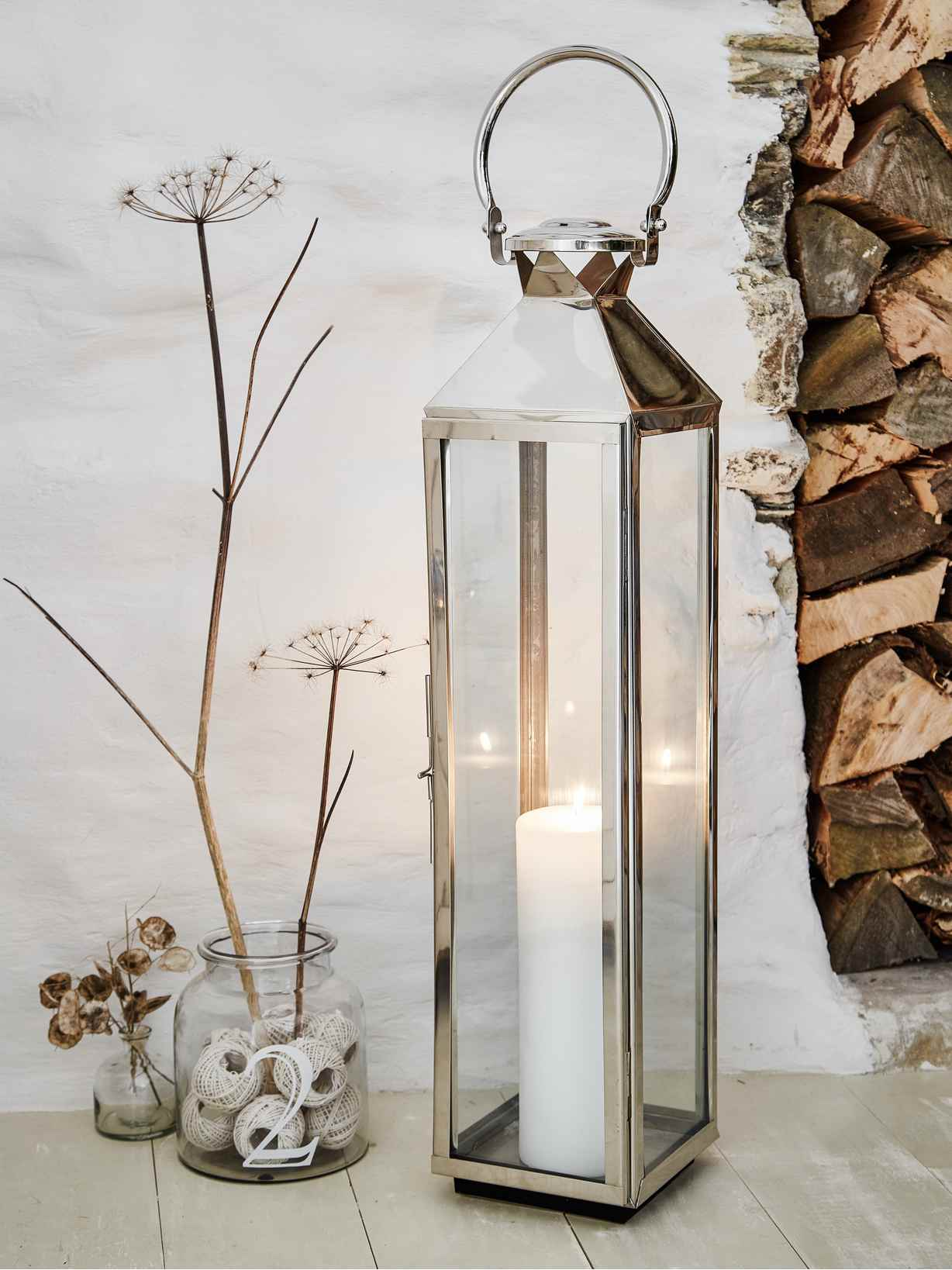 Nordic House Tall Stainless Steel Lantern