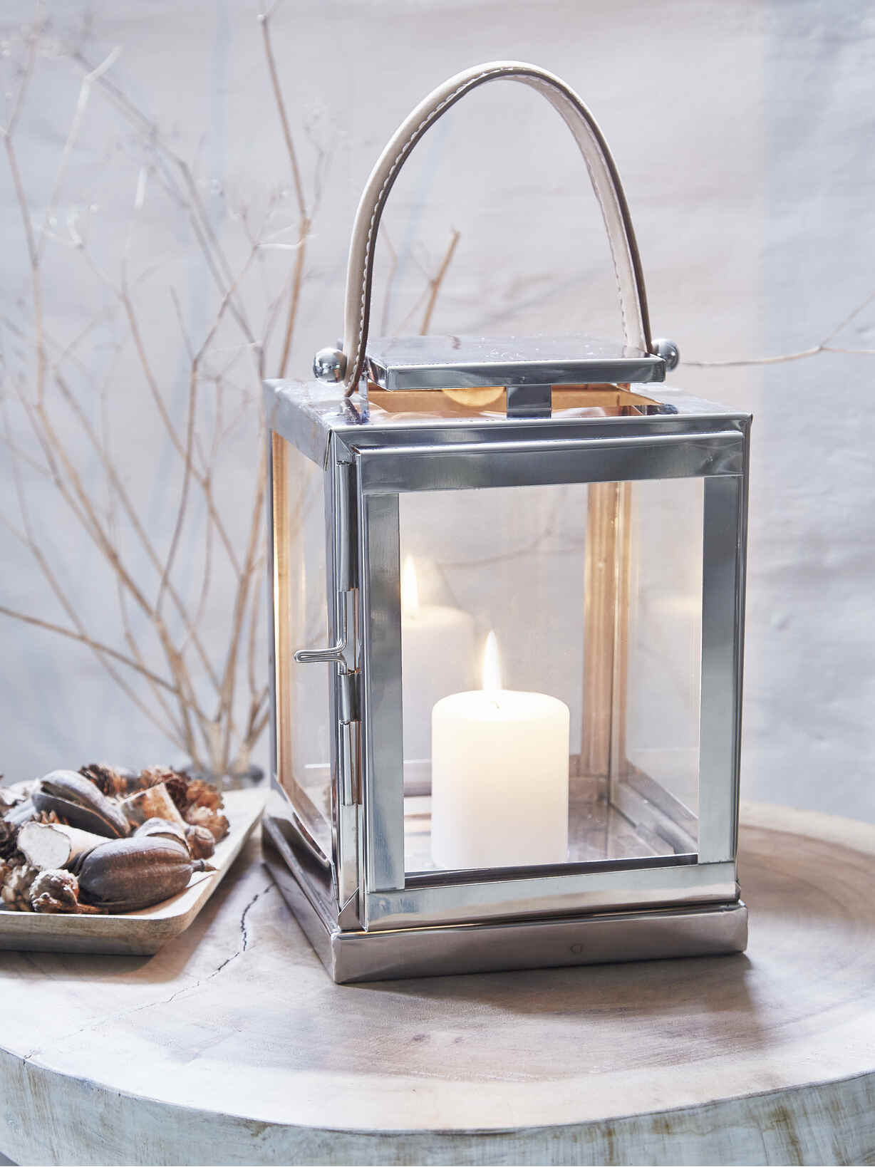 Nordic House Stainless and Leather Lanterns