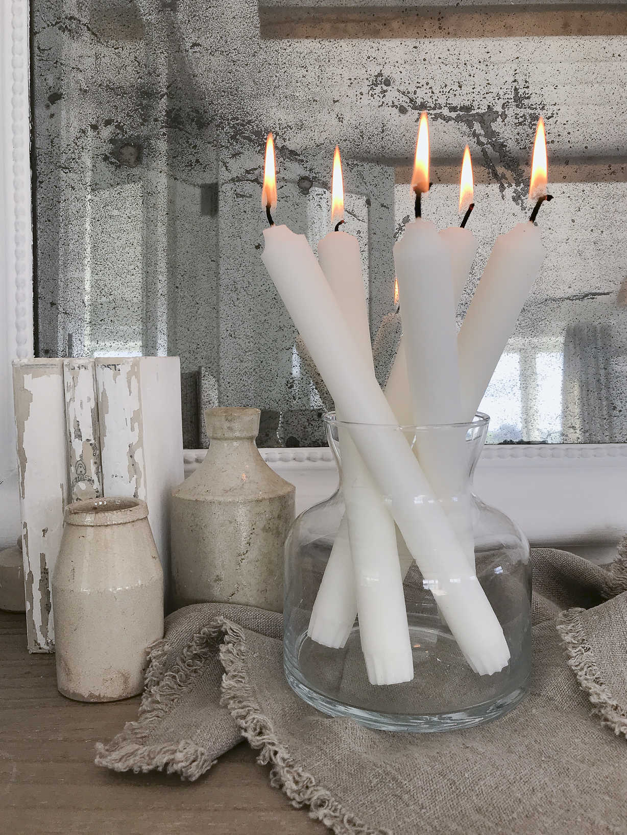 Nordic House White Stearin Candles