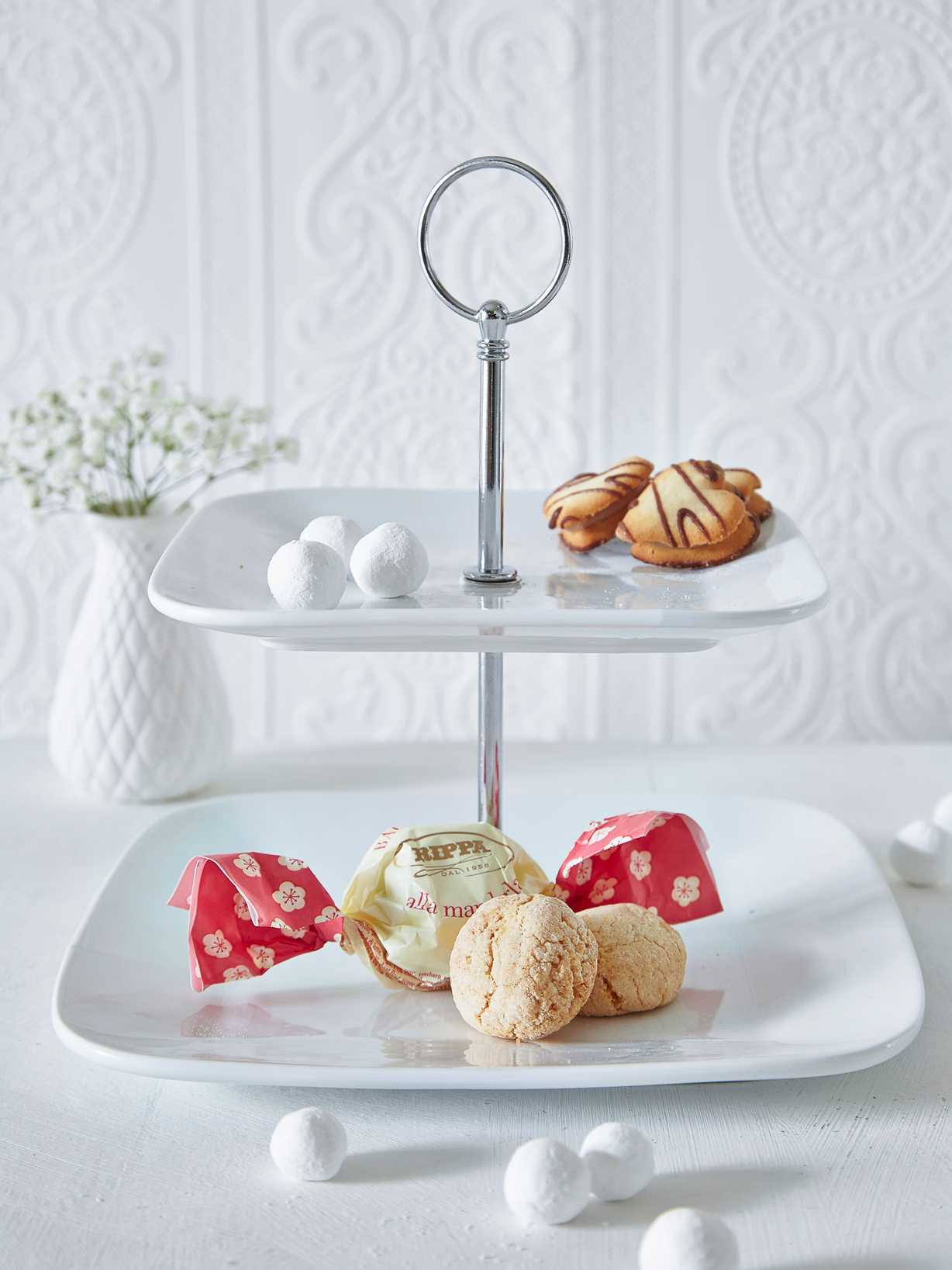 Nordic House White Cake Stand - Square