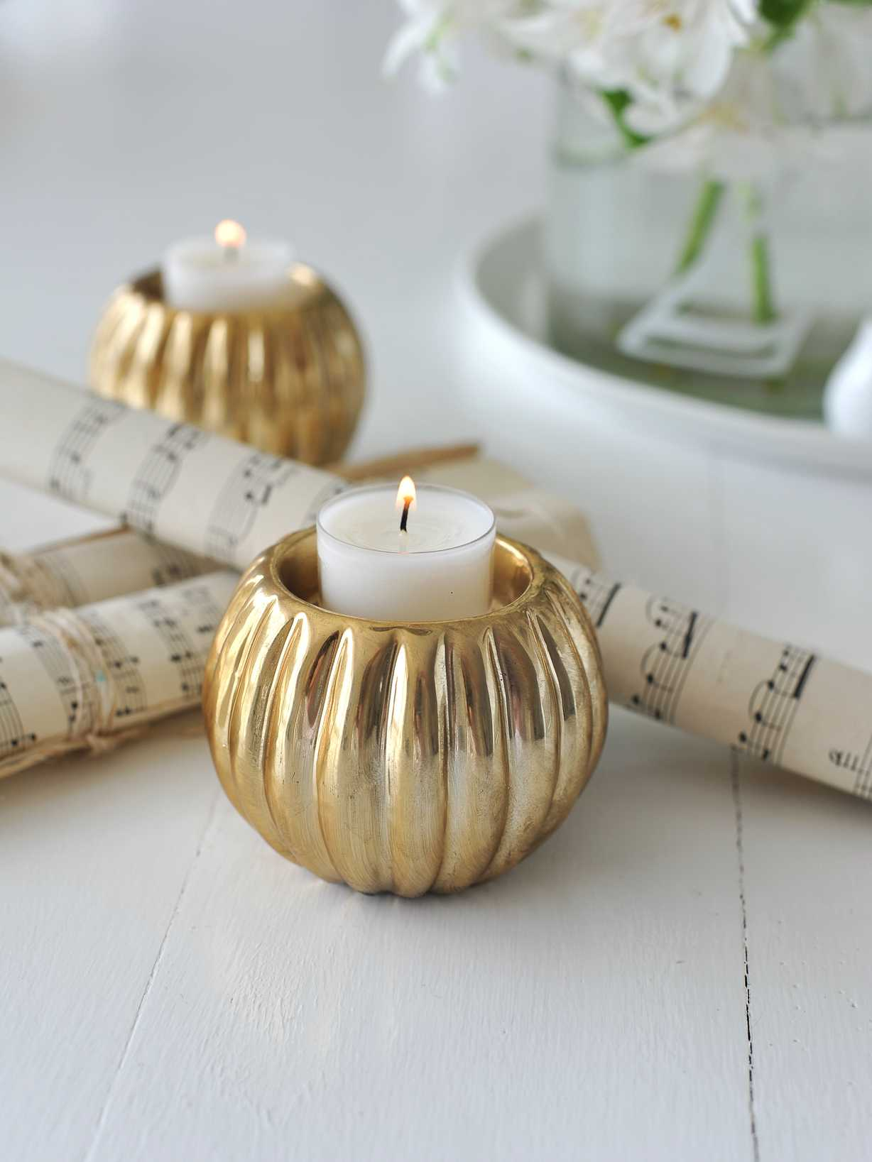 Nordic House Soft Gold Tealight Holder