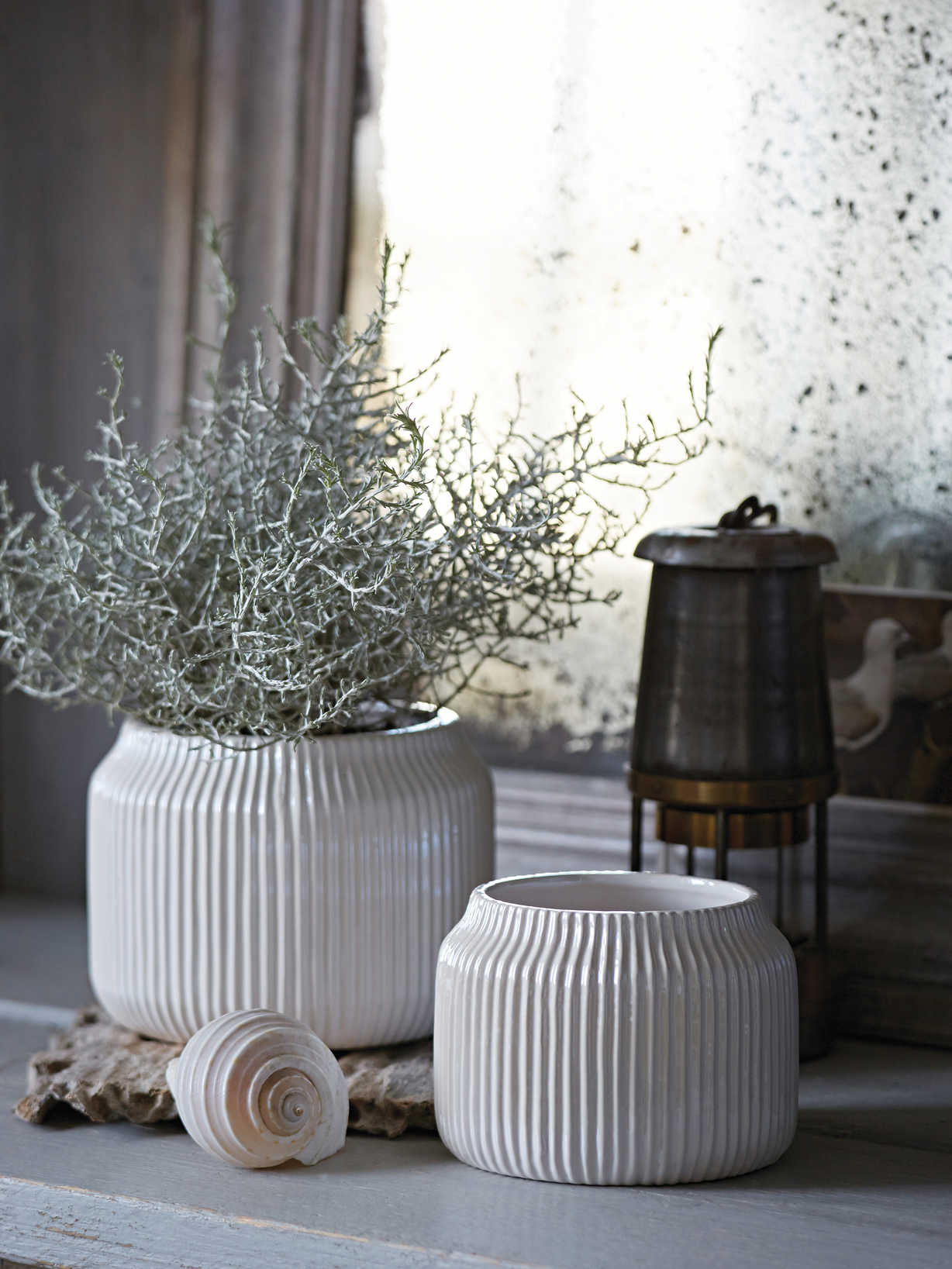 Nordic House Pearlescent Rilled Plant Pots