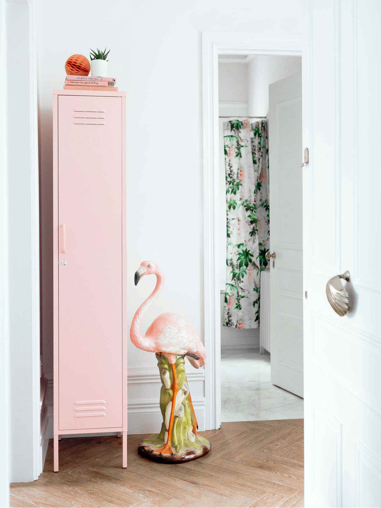 Nordic House Tall Loft Style Locker - Blush Pink
