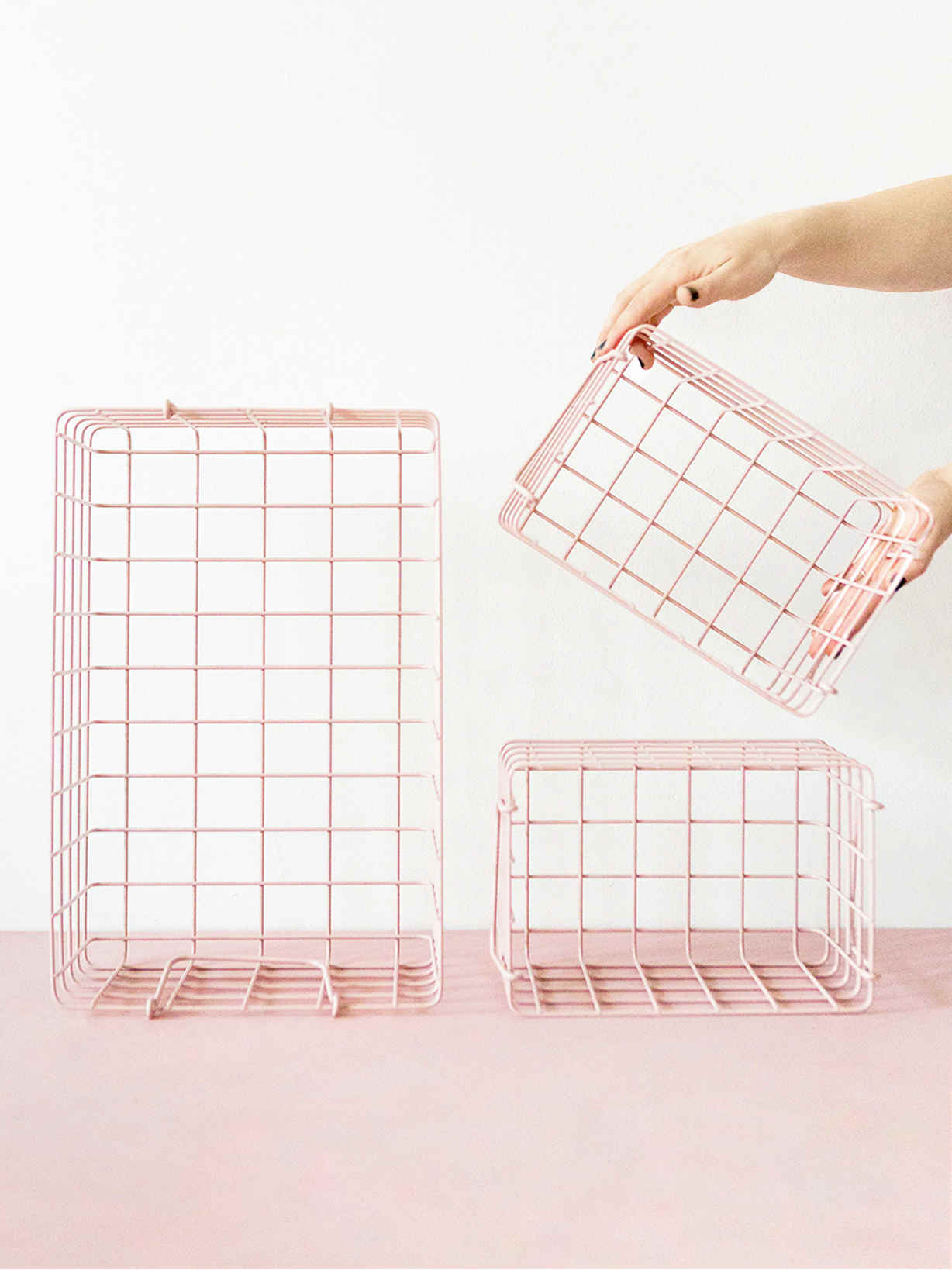 Nordic House Loft Style Basket Set - Blush Pink