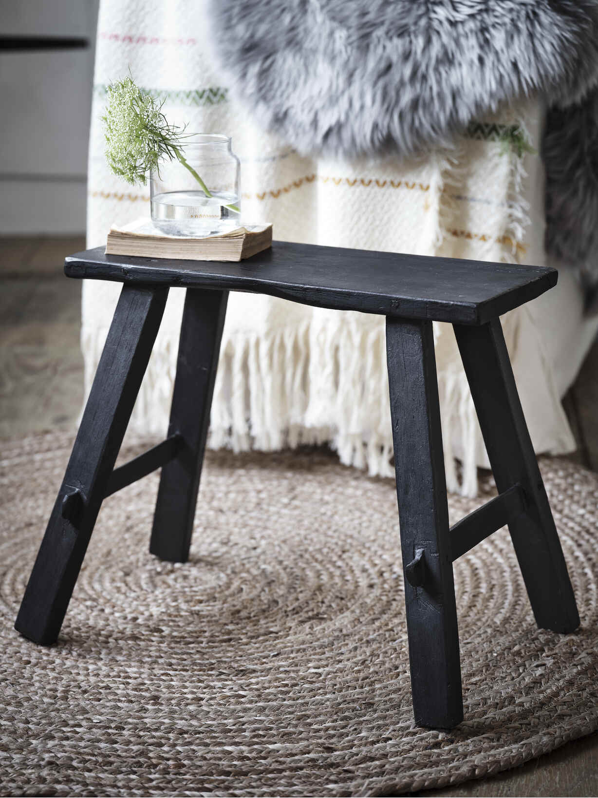 Nordic House Reclaimed Wood Milking Stool - Black