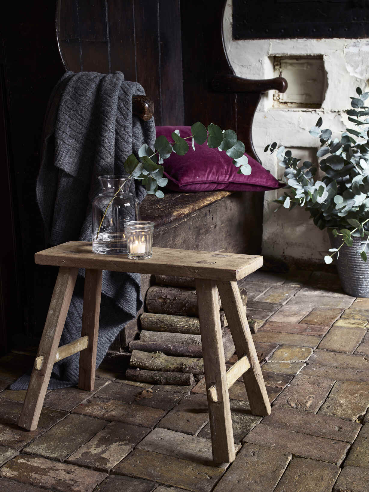 Nordic House Reclaimed Wood Milking Stool