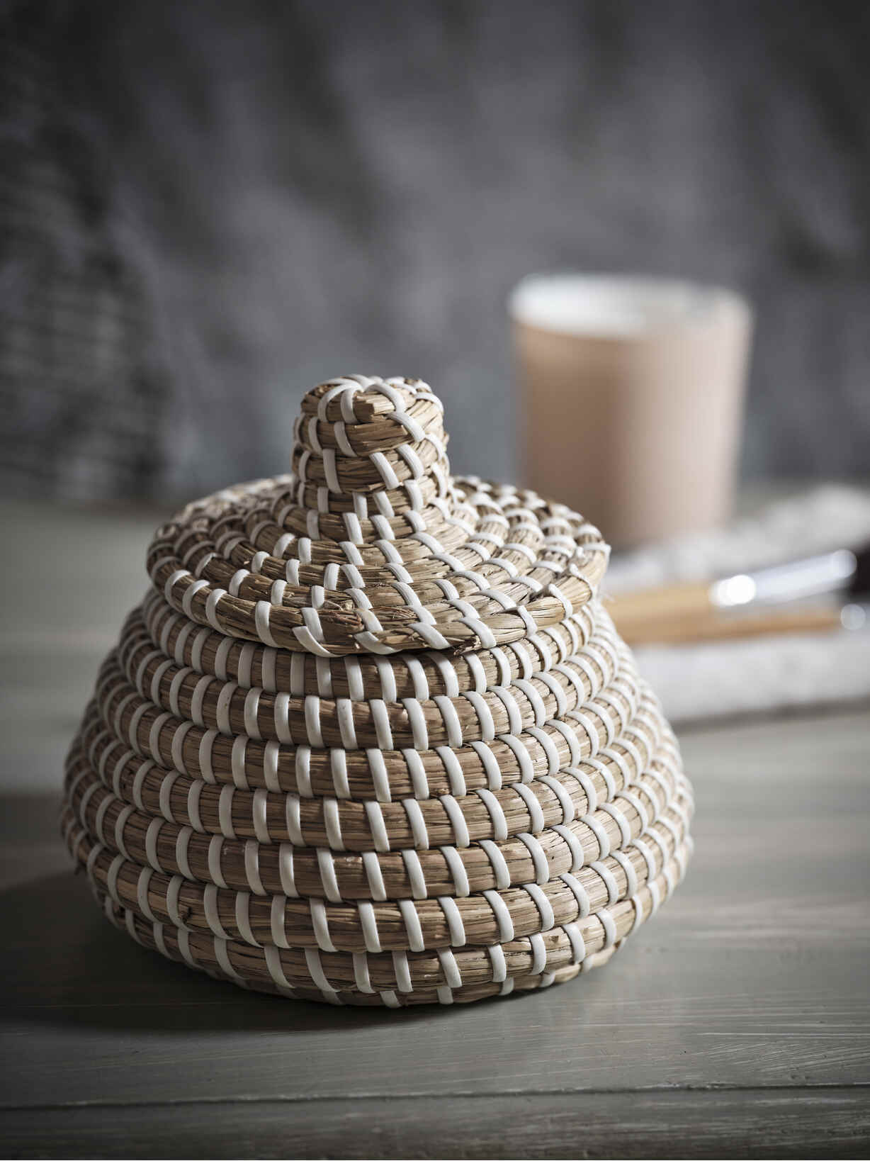 Nordic House Mini Lidded Seagrass Basket