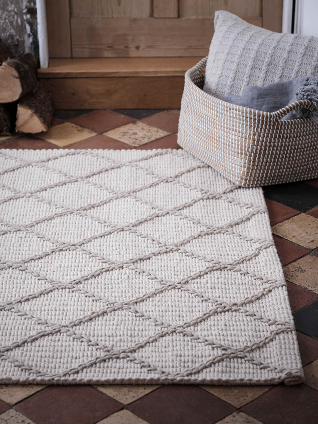 Nordic House Large Ivory and Natural Chevron Rug