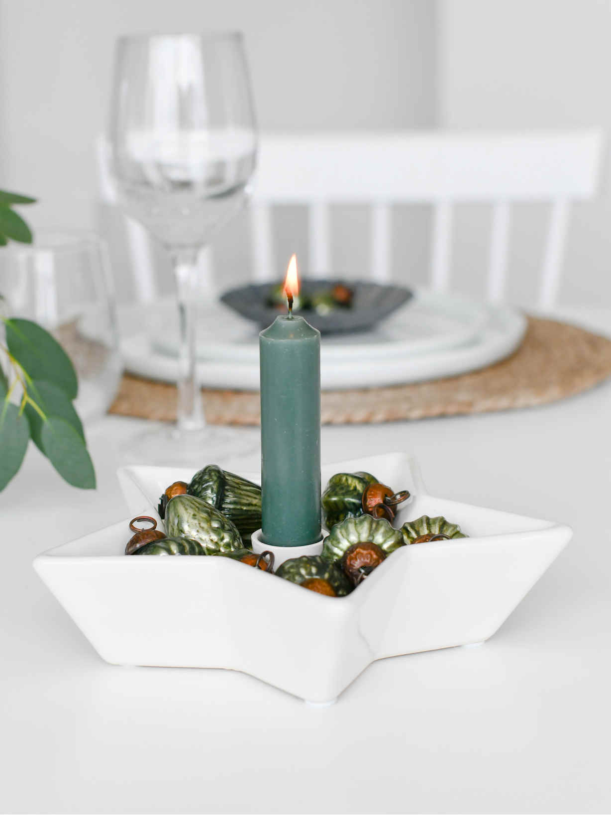 Nordic House White Star Candle Holder