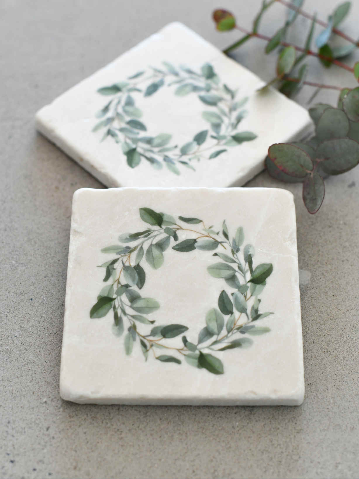 Nordic House Natural Stone Coasters - Eucalyptus