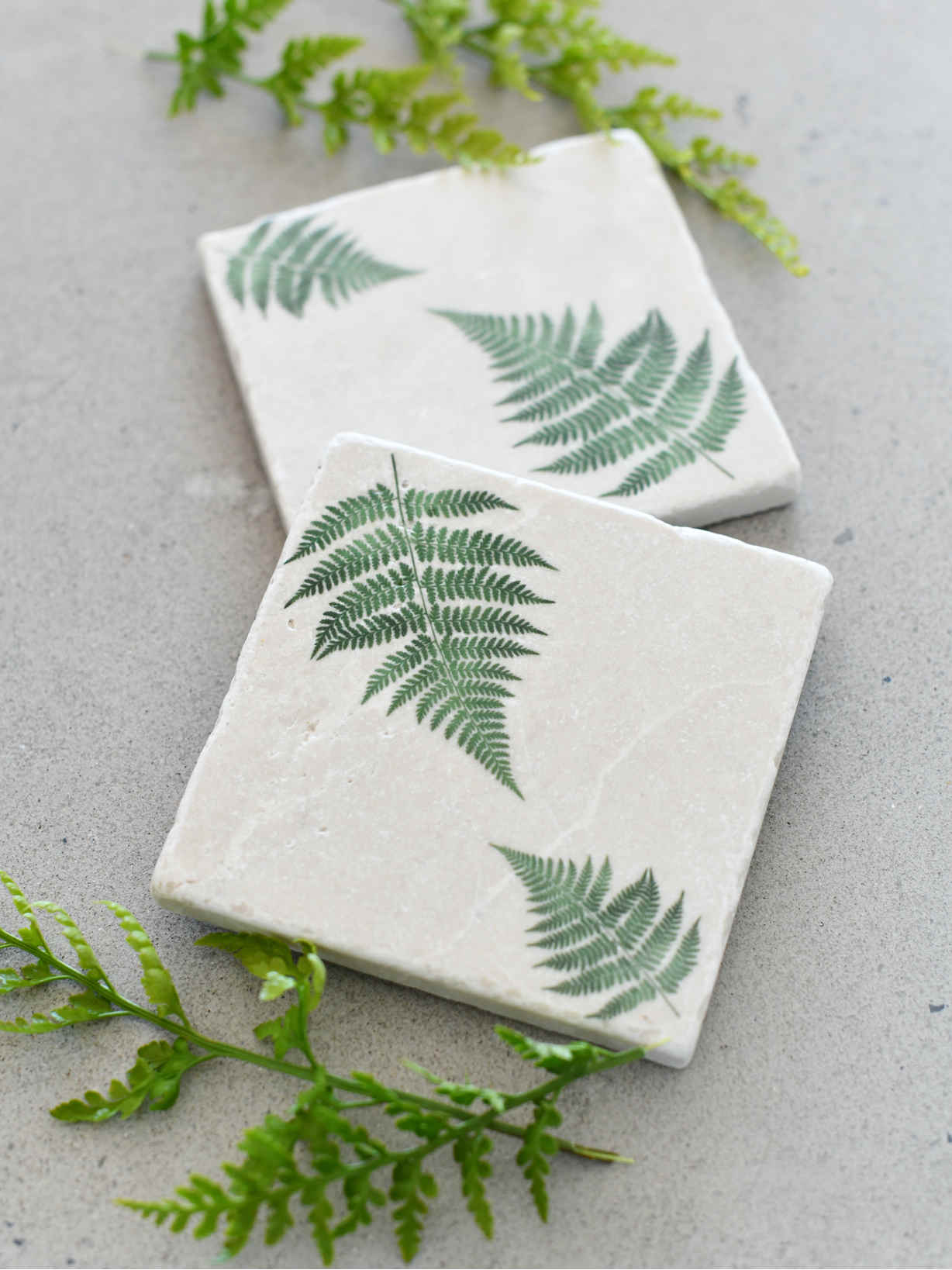 Nordic House Natural Stone Coasters - Forest Fern