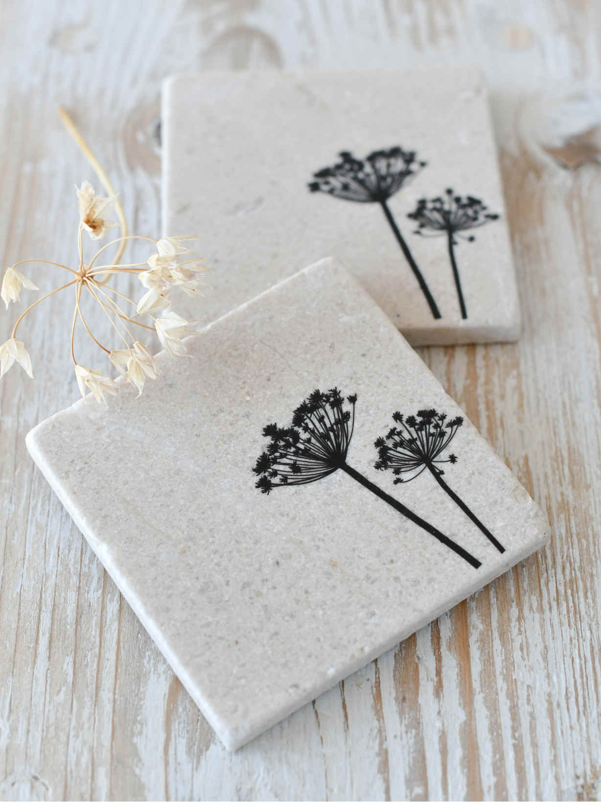 Nordic House Natural Stone Coasters - Cow Parsley