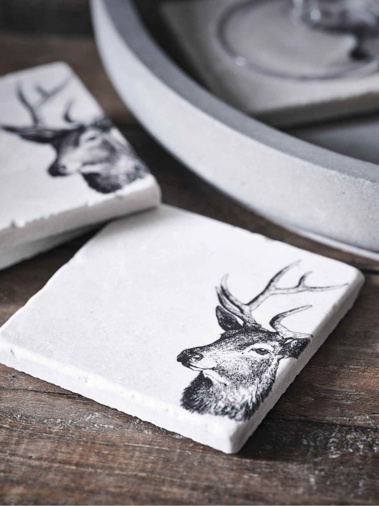 Nordic House Natural Stone Coasters - Stag