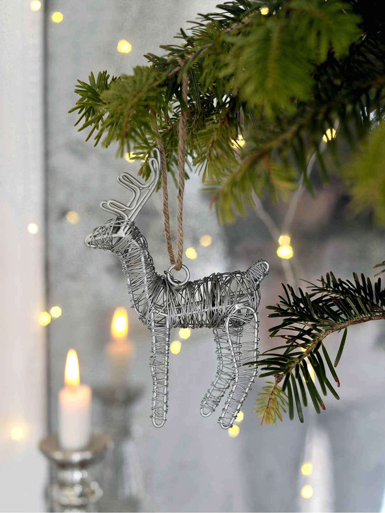 Nordic House Zinc Reindeer Decoration