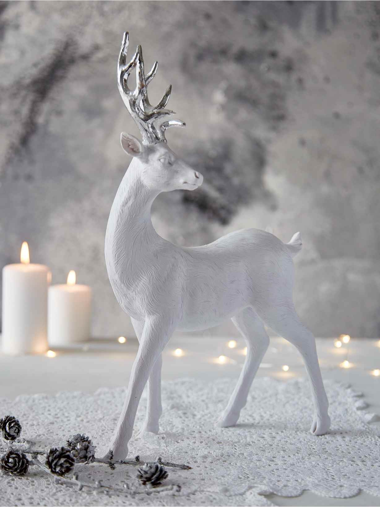 Nordic House Large Nordic White Deer - Standing